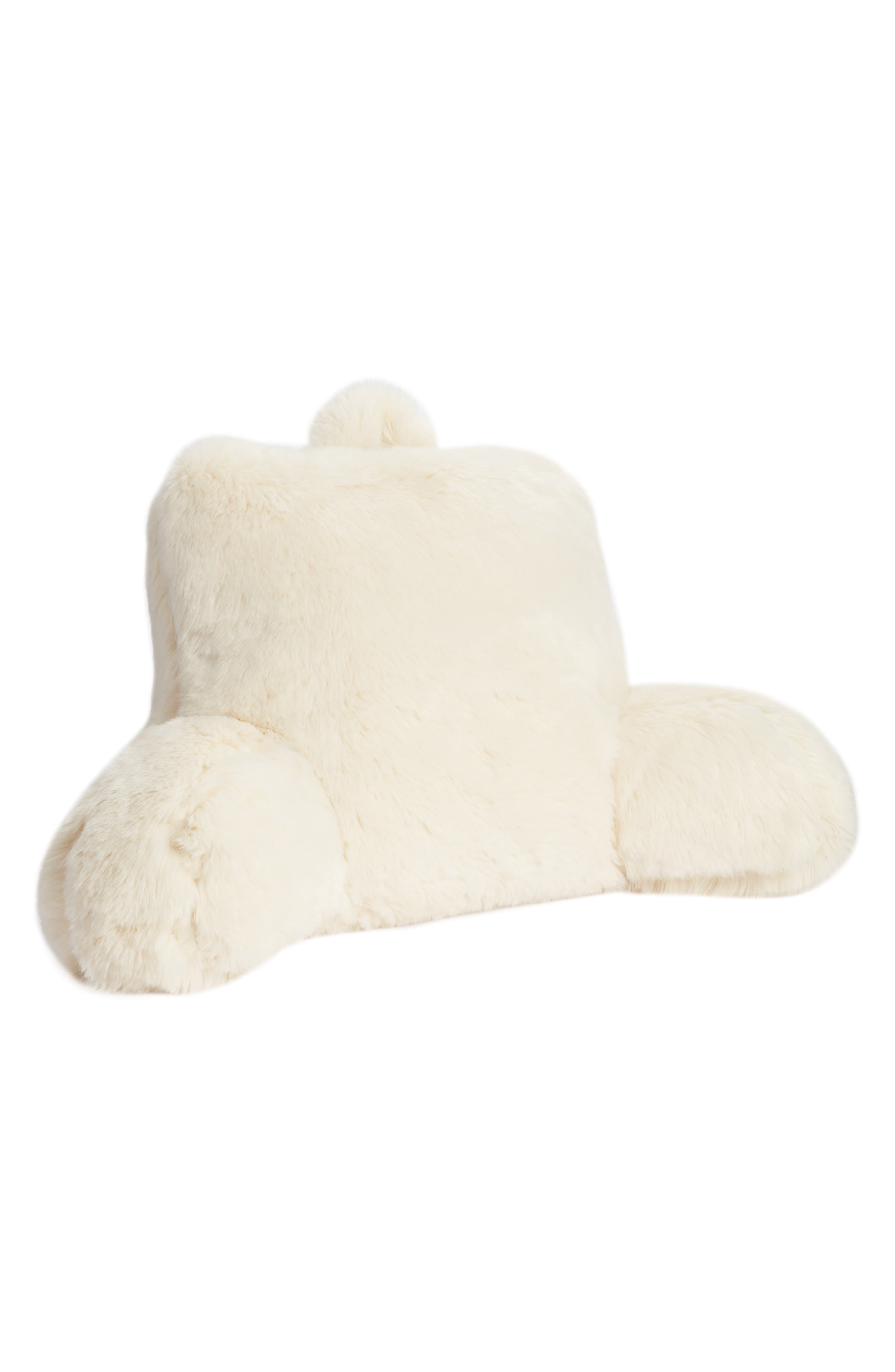 NORDSTROM AT HOME, Cuddle Up Faux Fur Backrest Pillow, Main thumbnail 1, color, IVORY