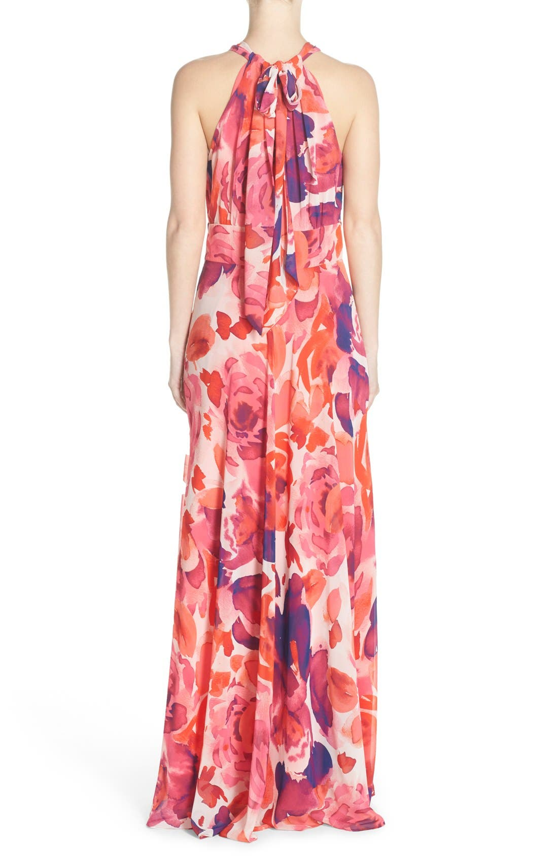 ELIZA J, Floral Print Halter Maxi Dress, Alternate thumbnail 3, color, PINK/ CORAL/ PURPLE