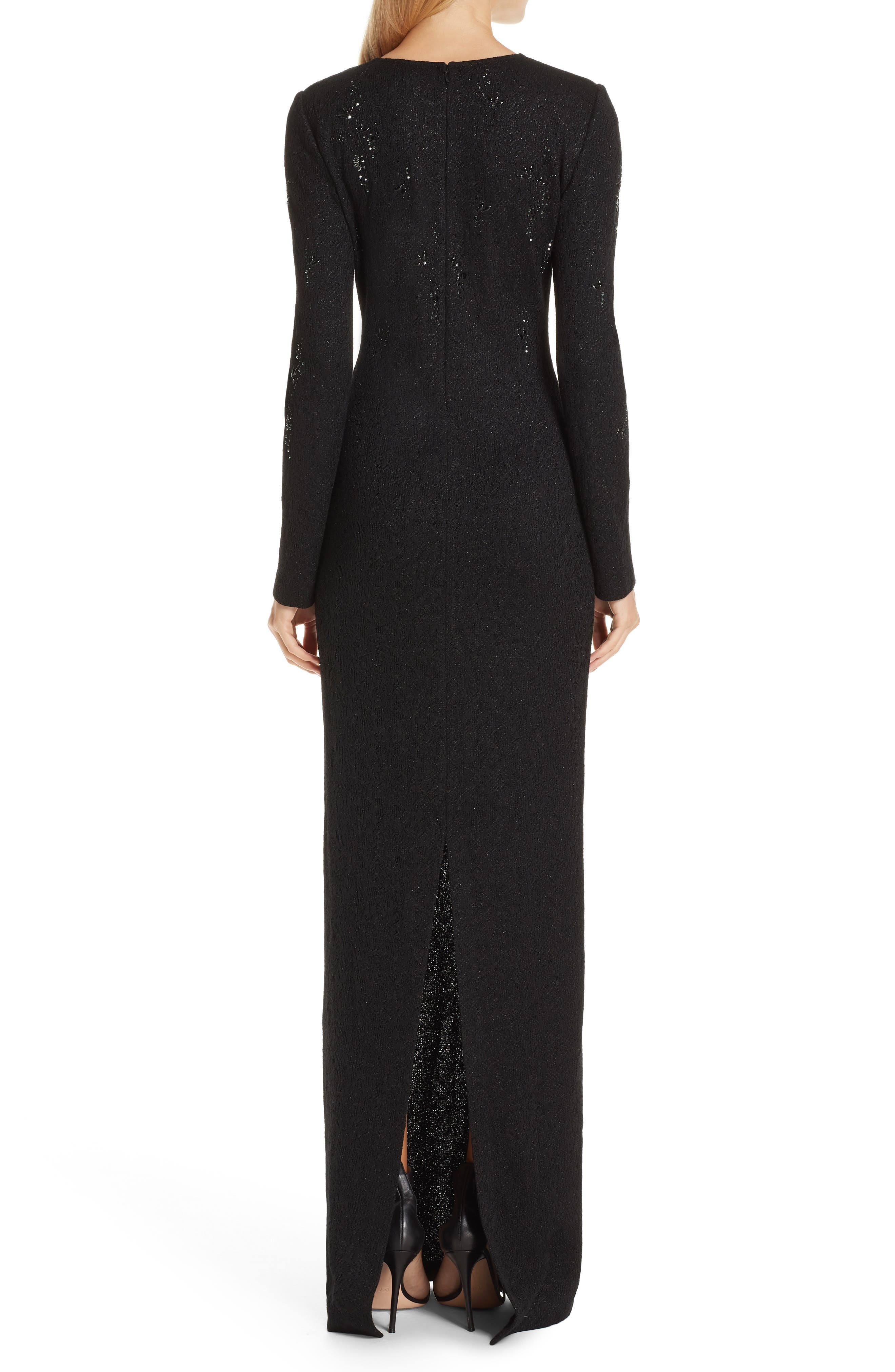 ST. JOHN COLLECTION, Lace Overlay Jacquard Knit Gown, Alternate thumbnail 2, color, CAVIAR