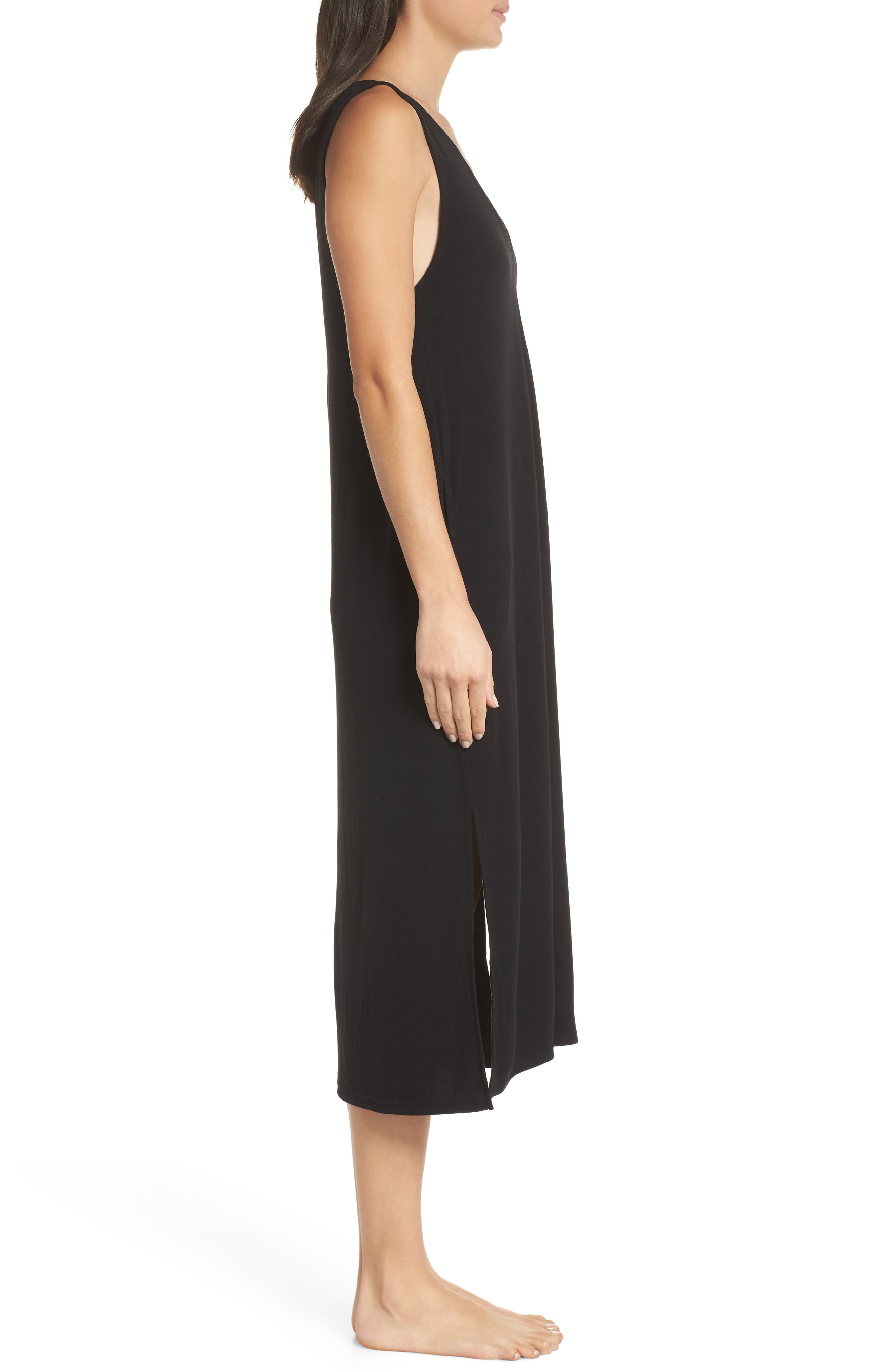 SOMETHING NAVY, Midi Nightgown, Alternate thumbnail 4, color, BLACK