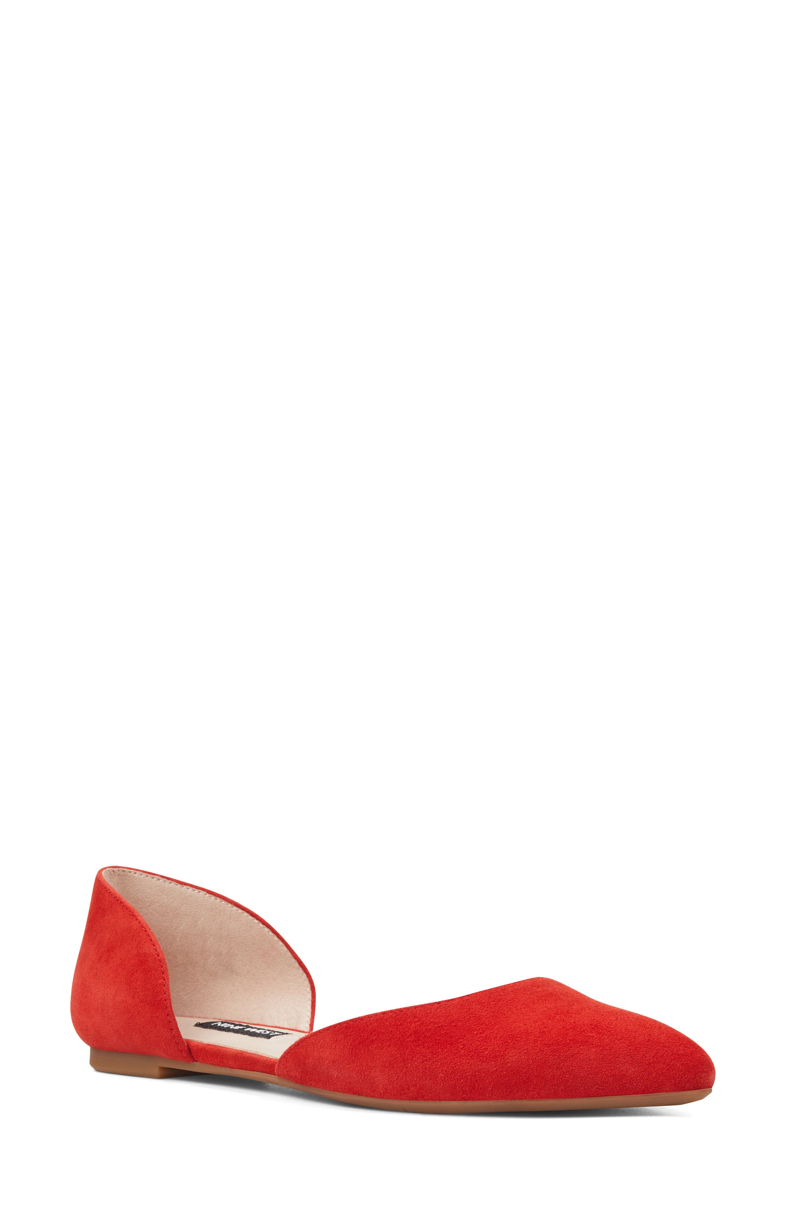 NINE WEST, Starship d'Orsay Flat, Main thumbnail 1, color, RED SUEDE
