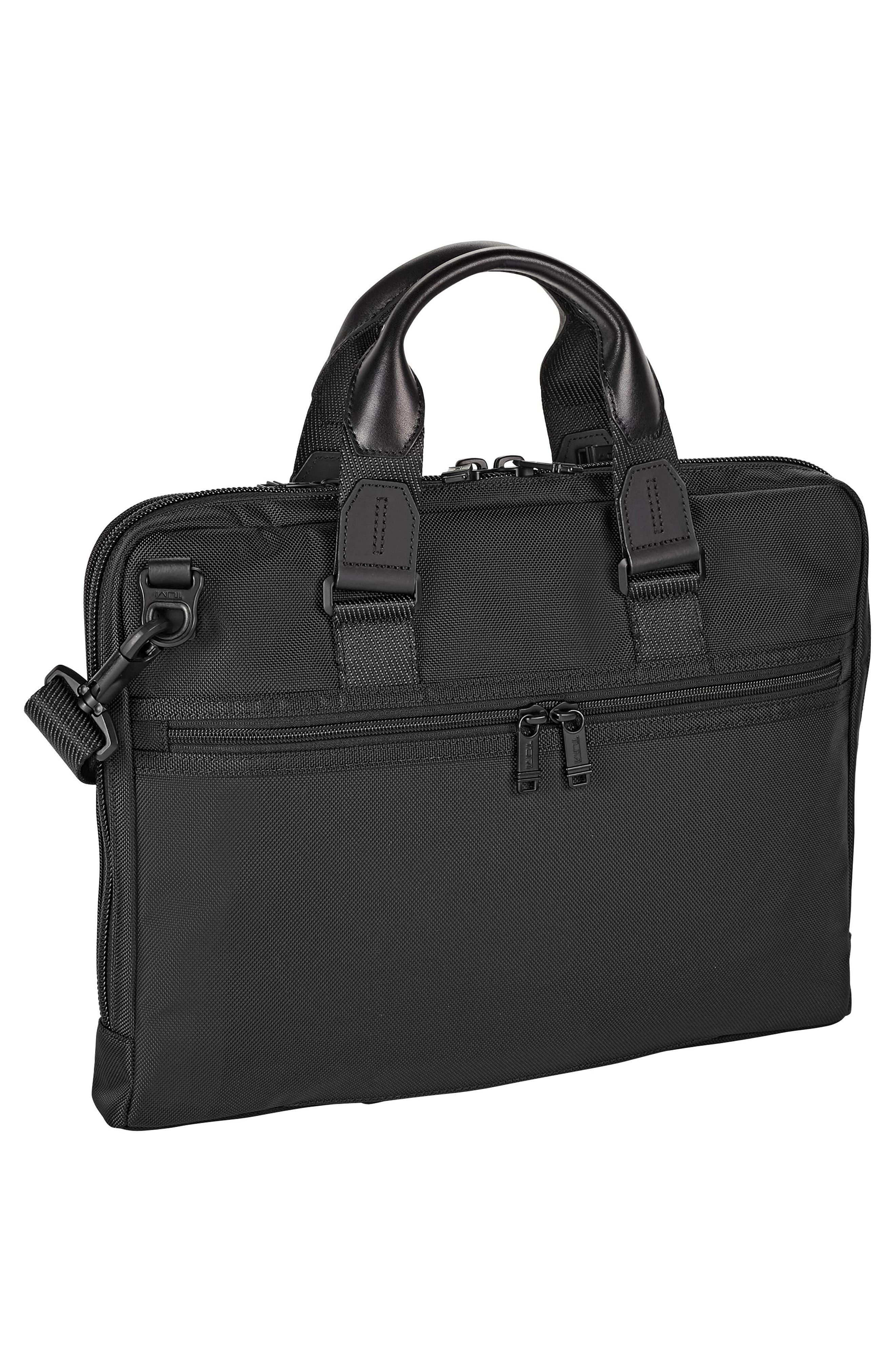 TUMI, Alpha Bravo - Aviano Slim Briefcase, Alternate thumbnail 2, color, BLACK