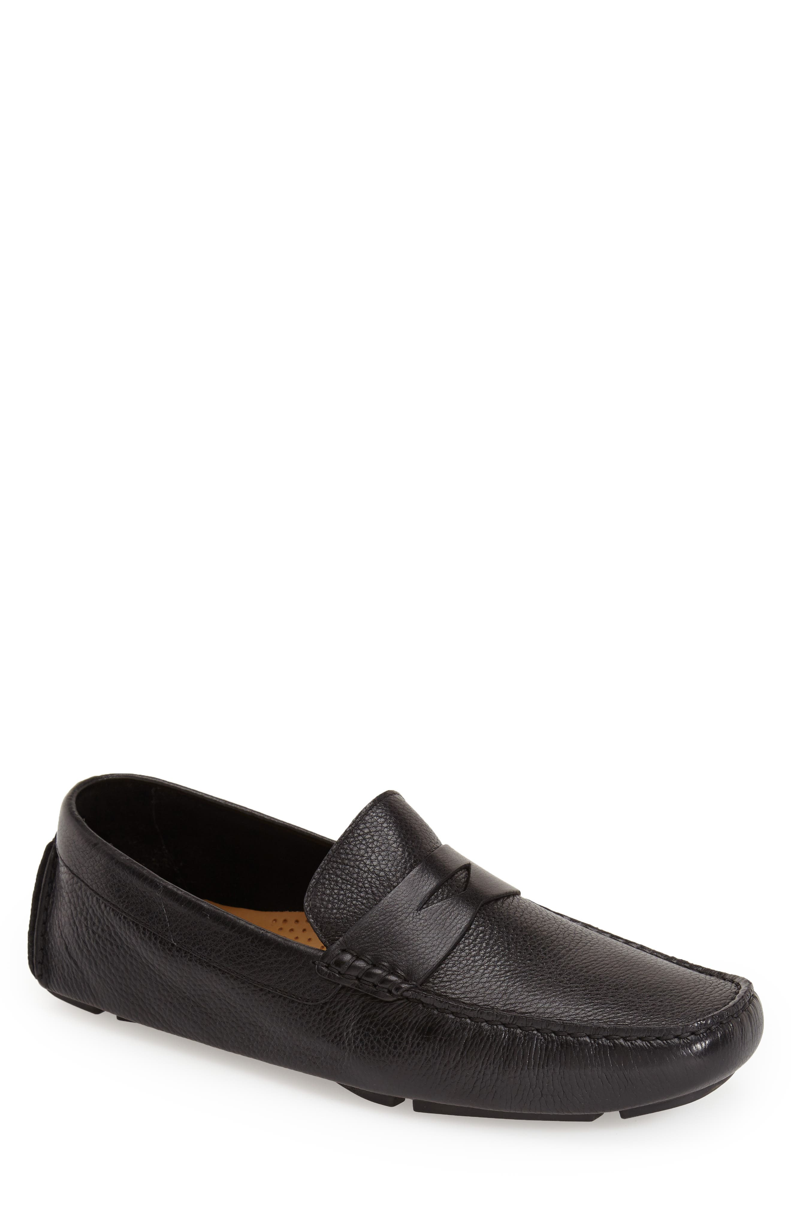 COLE HAAN, 'Howland' Penny Loafer, Alternate thumbnail 9, color, BLACK TUMBLED