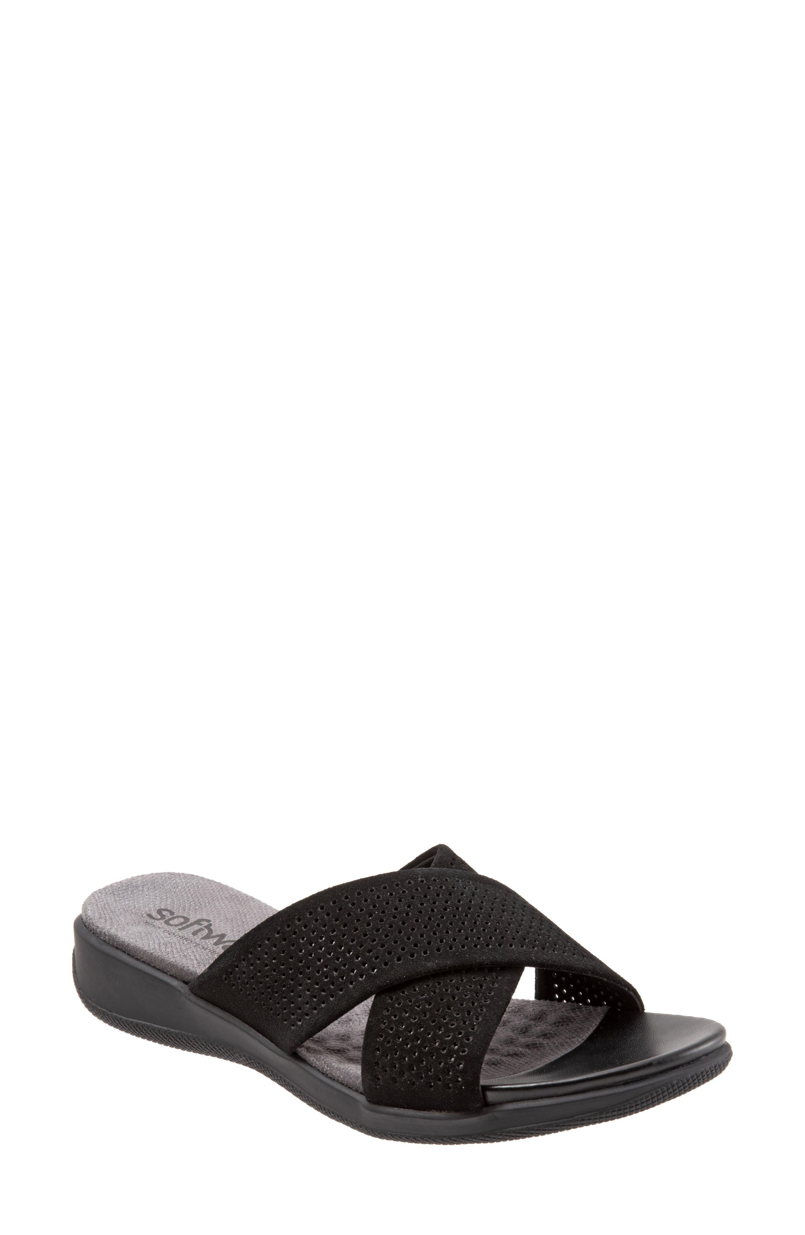 SOFTWALK<SUP>®</SUP>, 'Tillman' Leather Cross Strap Slide Sandal, Main thumbnail 1, color, 002