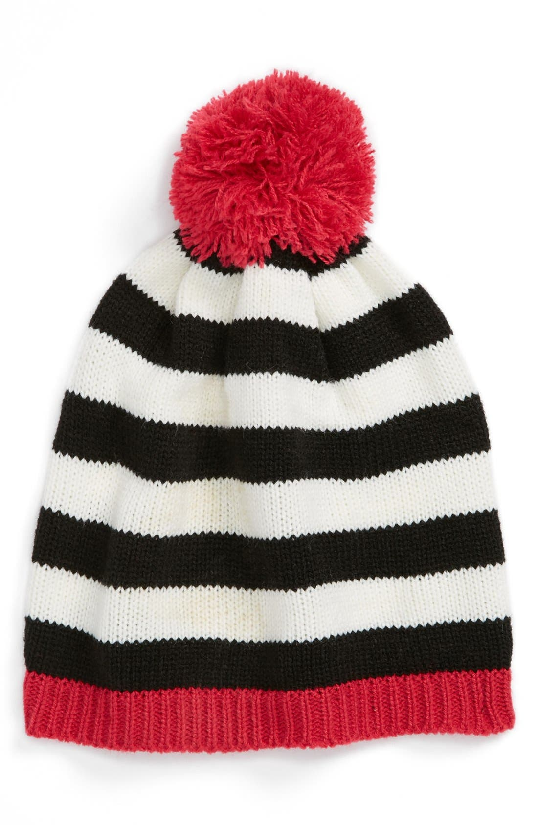 THE ACCESSORY COLLECTIVE, Pompom Beanie, Main thumbnail 1, color, 001