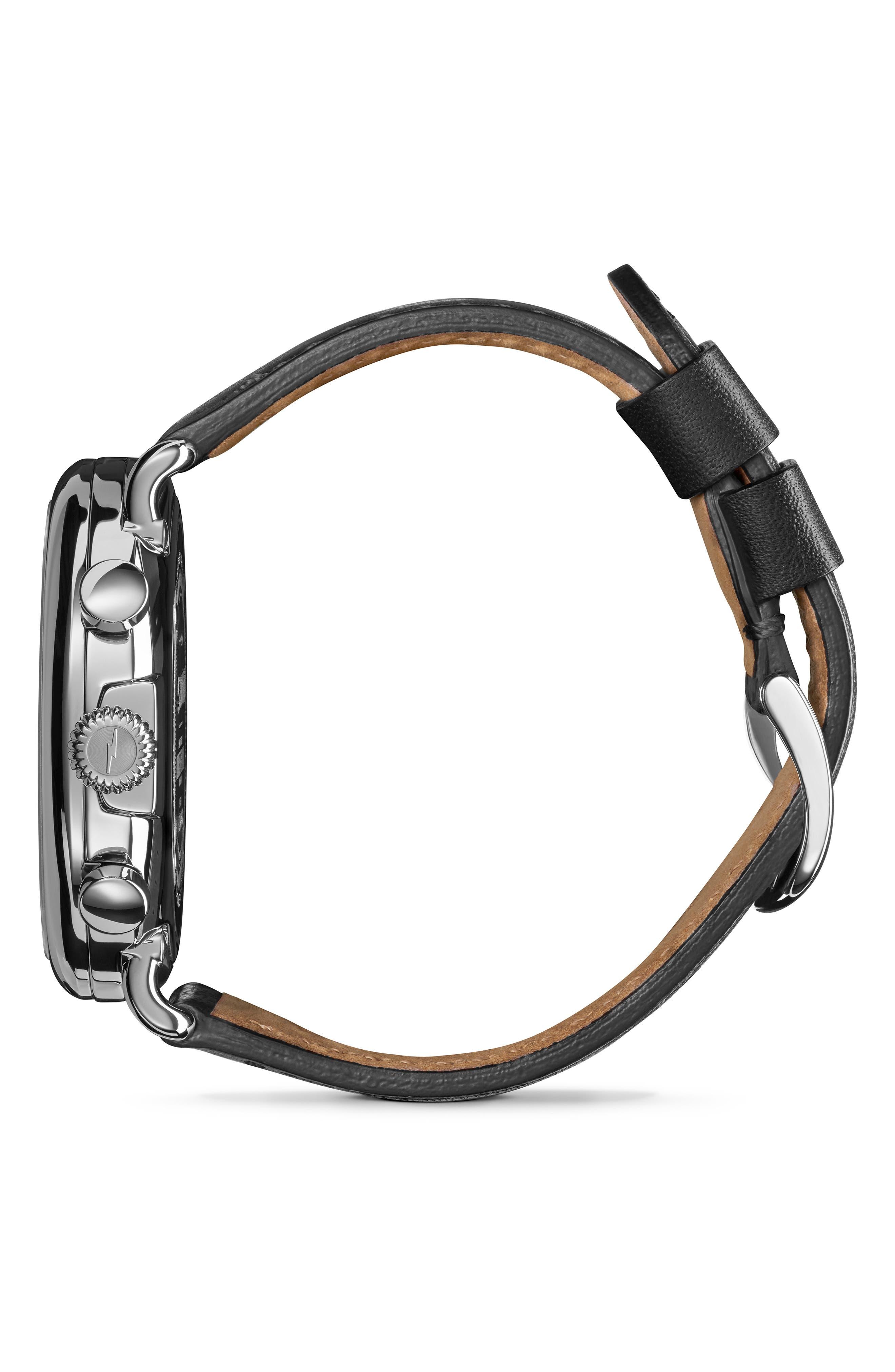 SHINOLA, The Runwell Chrono Leather Strap Watch, 47mm, Alternate thumbnail 4, color, 002