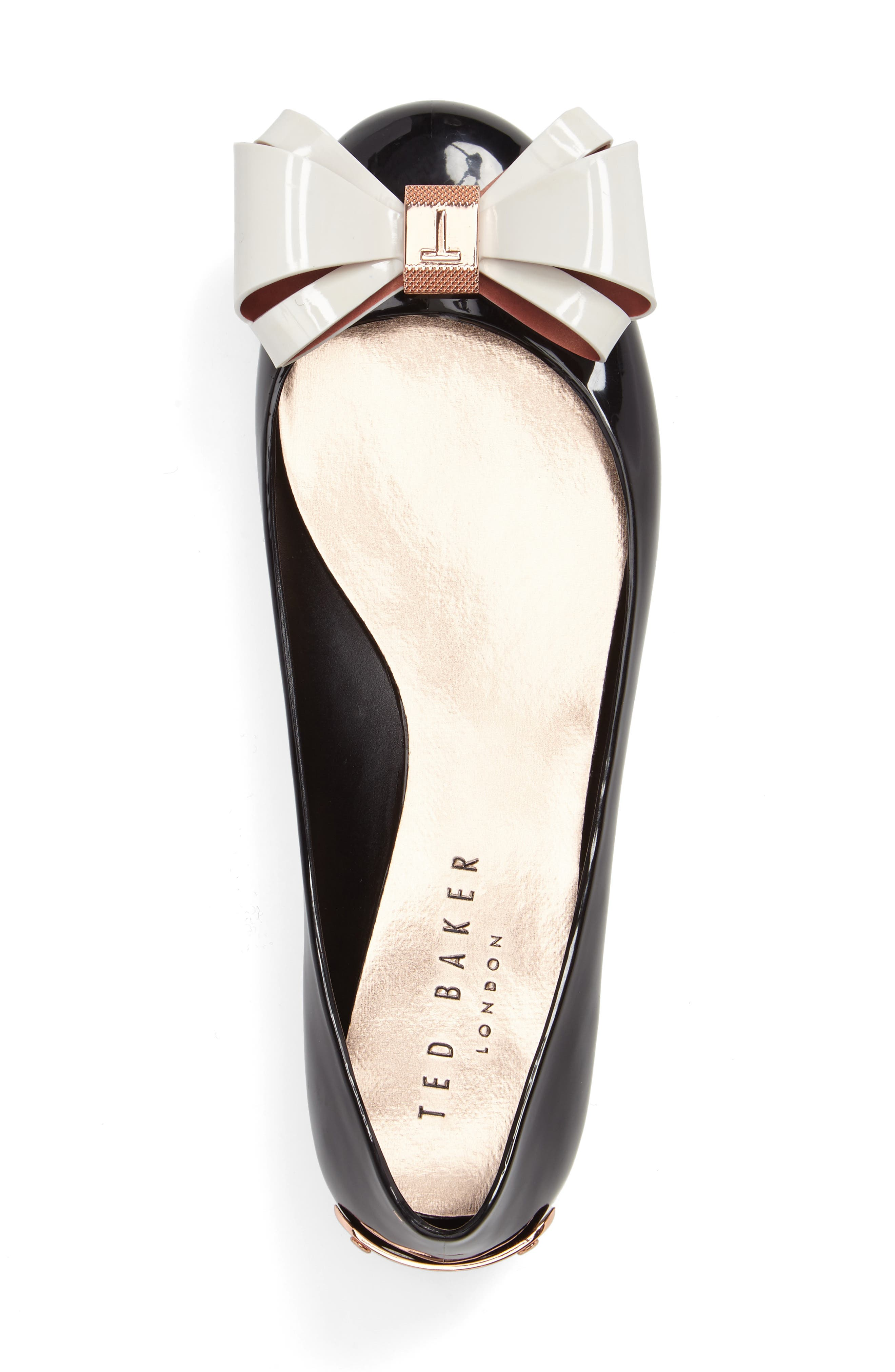 TED BAKER LONDON, Julivia Bow Flat, Alternate thumbnail 3, color, 002