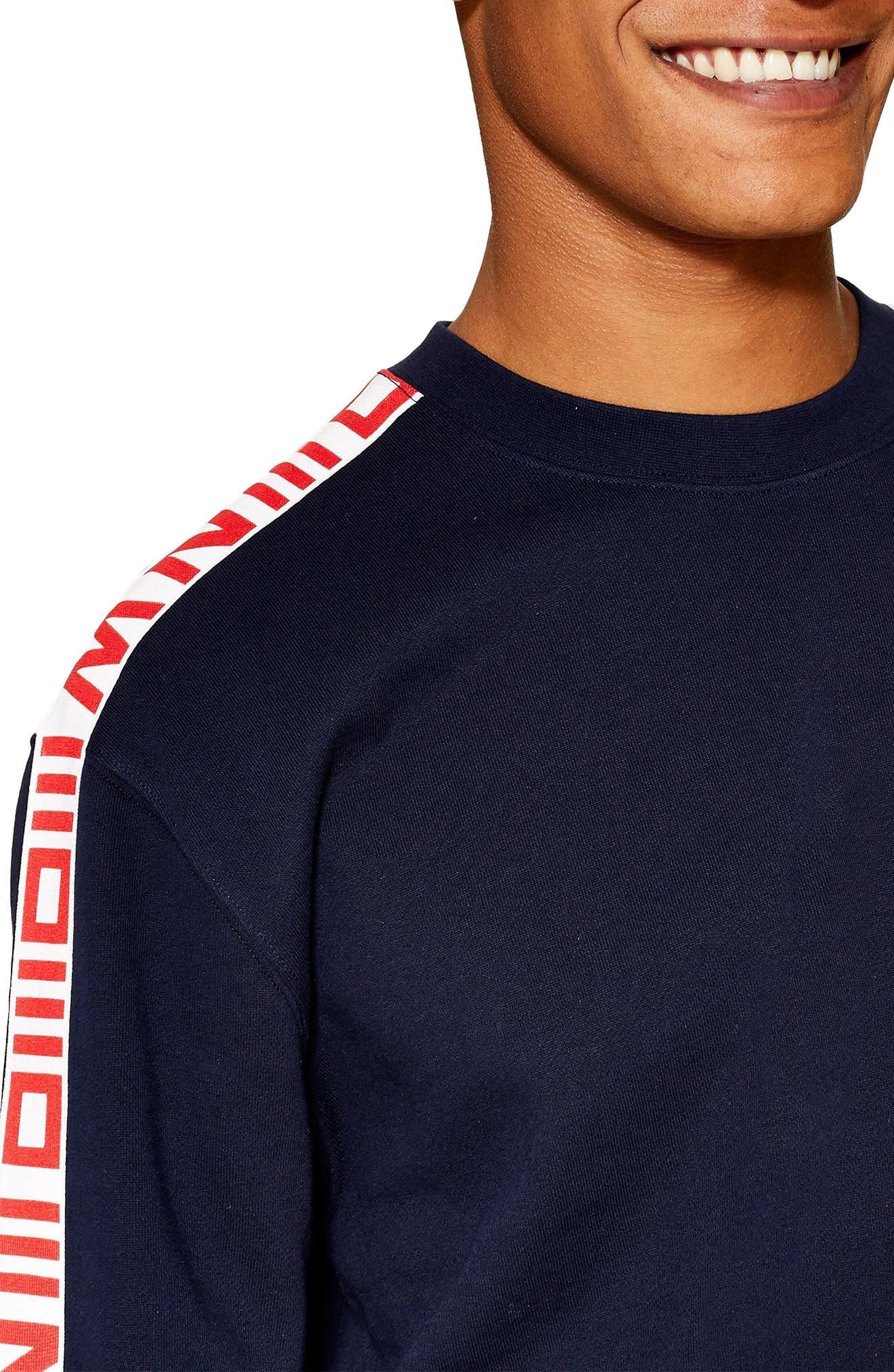 TOPMAN, Taped Crewneck Sweatshirt, Alternate thumbnail 3, color, NAVY MULTI