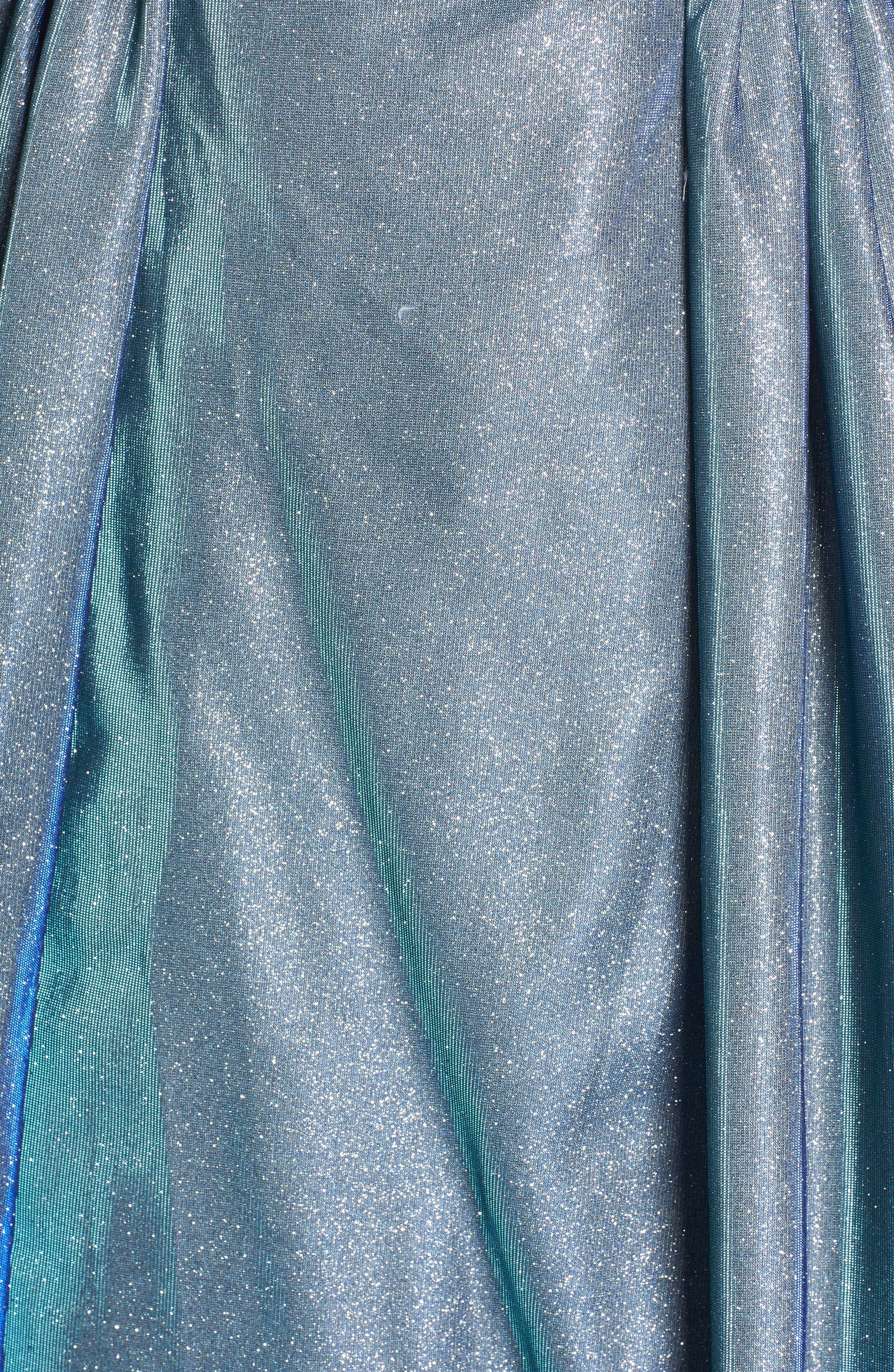 MAC DUGGAL, Jeweled Waist Metallic Evening Dress, Alternate thumbnail 6, color, BLUE