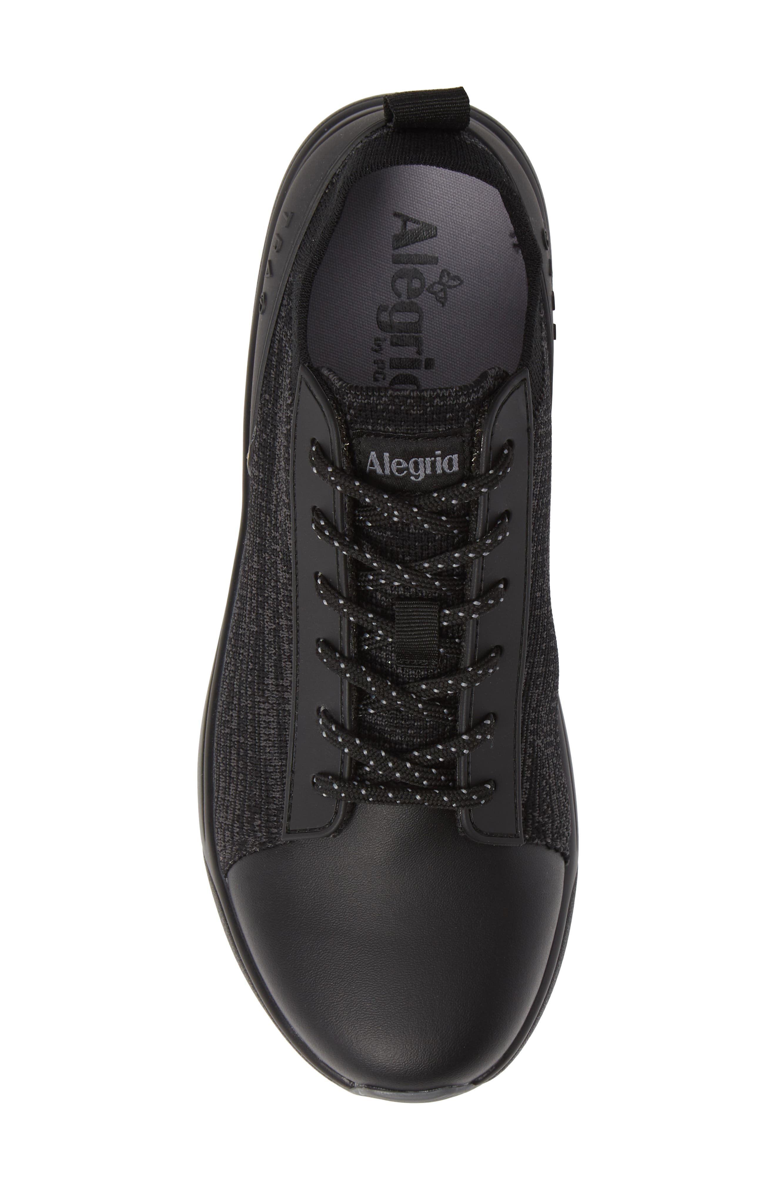 ALEGRIA, Qest Sneaker, Alternate thumbnail 5, color, BLACK LEATHER