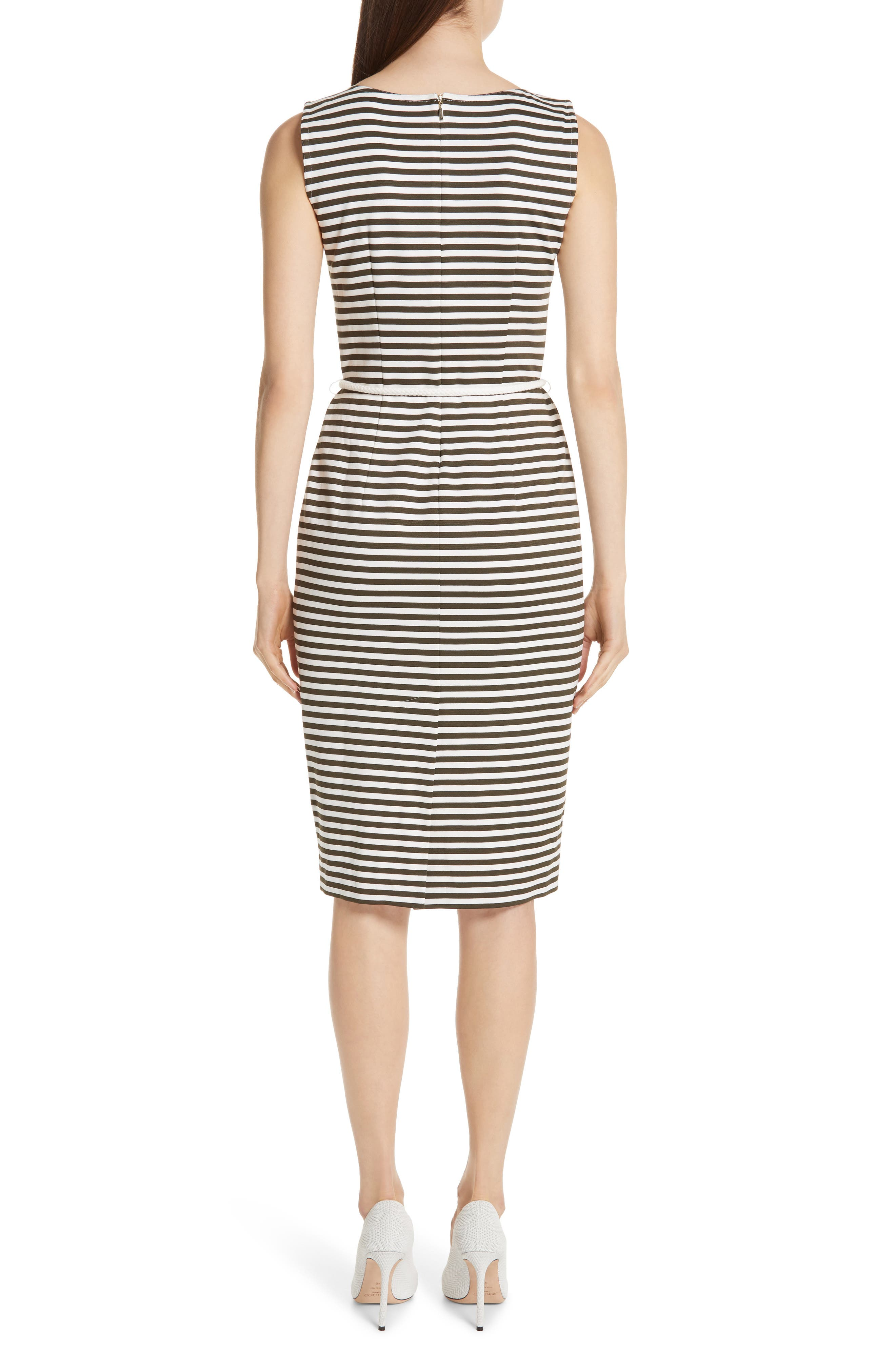 MAX MARA, Comica Stripe Dress, Alternate thumbnail 2, color, KAKI
