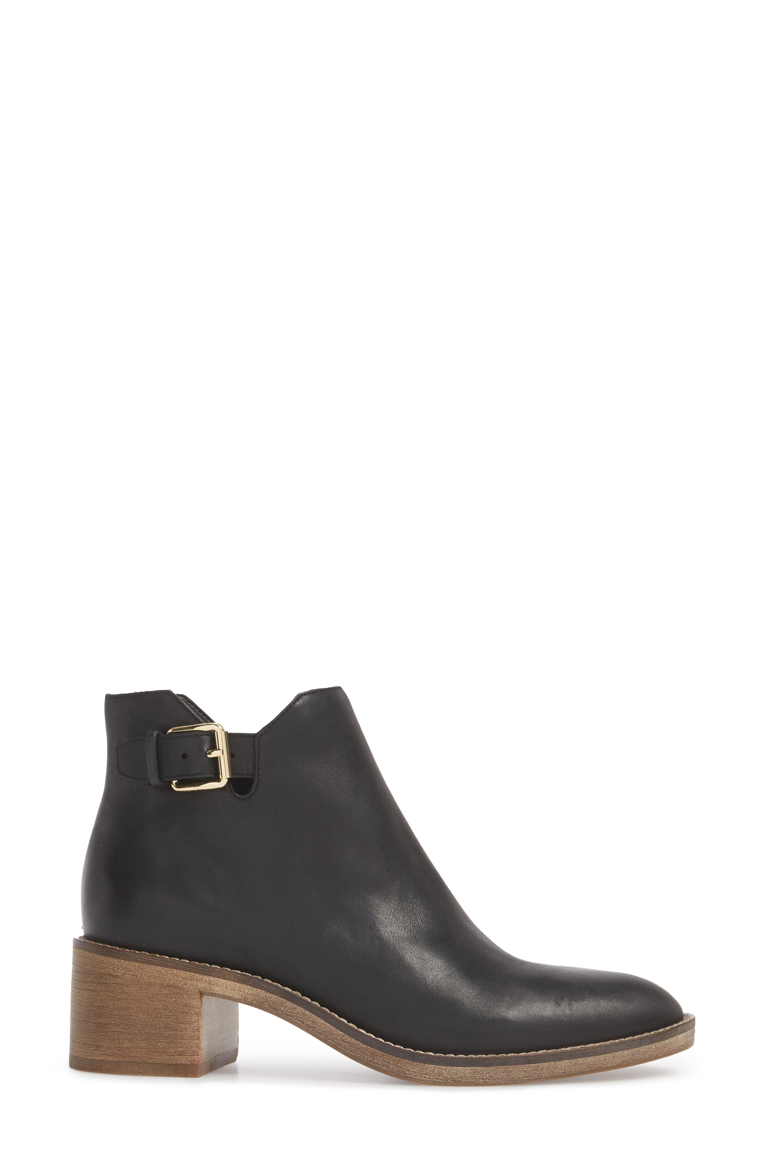 COLE HAAN, Harrington Grand Buckle Bootie, Alternate thumbnail 3, color, BLACK LEATHER