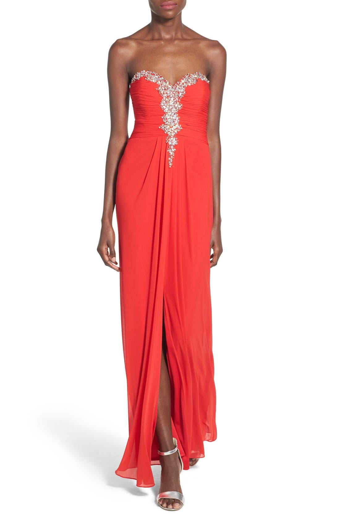 BLONDIE NITES, Blondie Nights Embellished Strapless Gown, Main thumbnail 1, color, 602