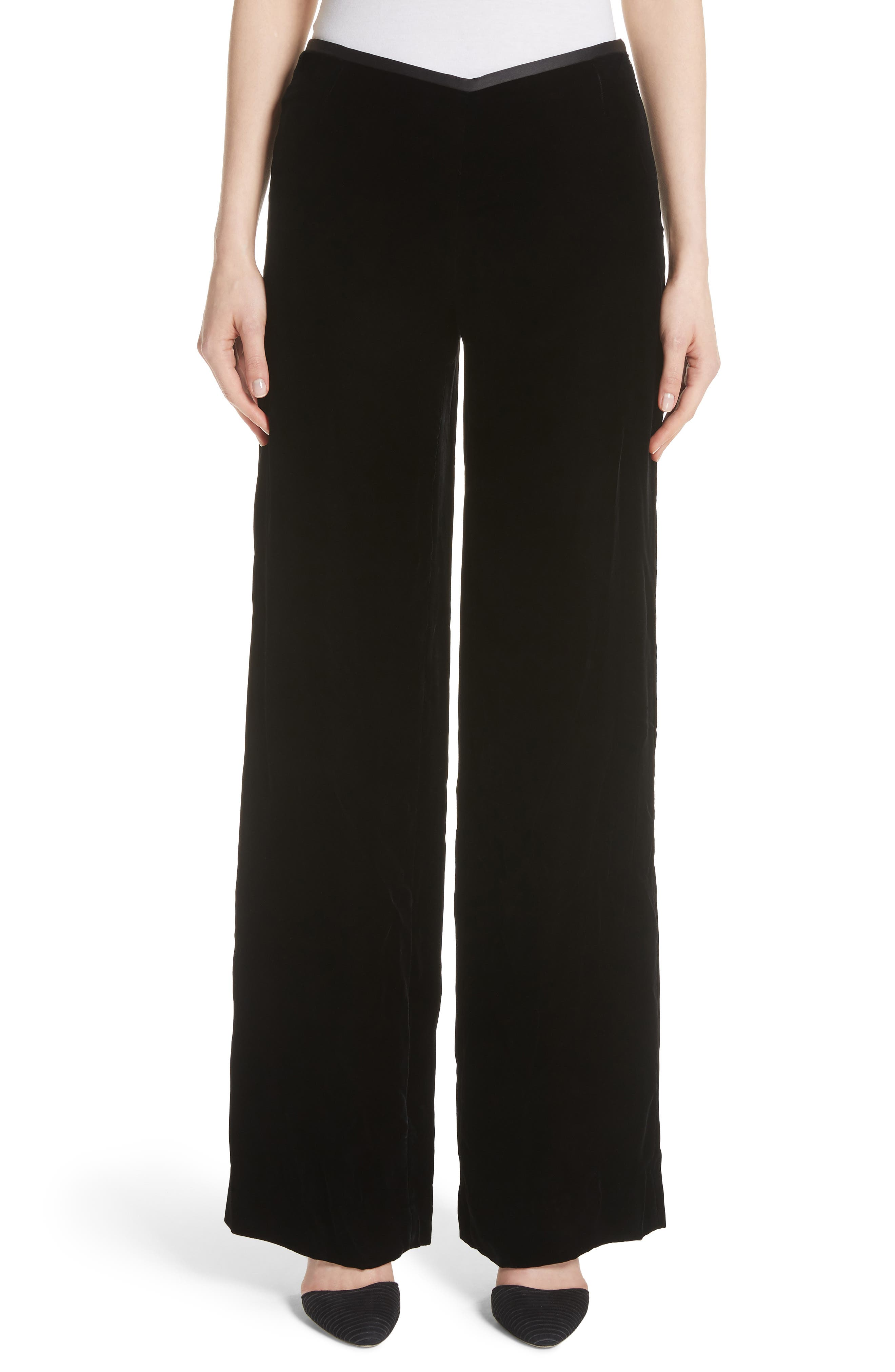 EMPORIO ARMANI, Wide Leg Velvet Pants, Main thumbnail 1, color, 004