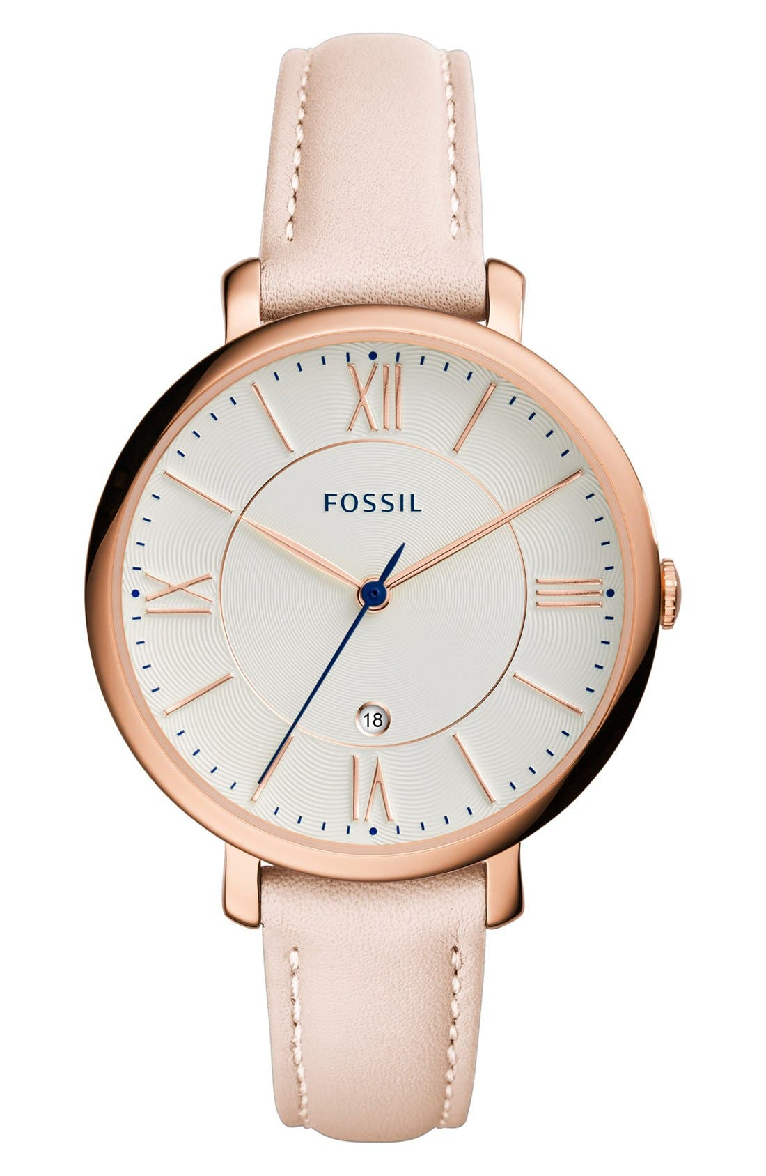 FOSSIL, 'Jacqueline' Leather Strap Watch, 36mm, Main thumbnail 1, color, BLUSH/ WHITE