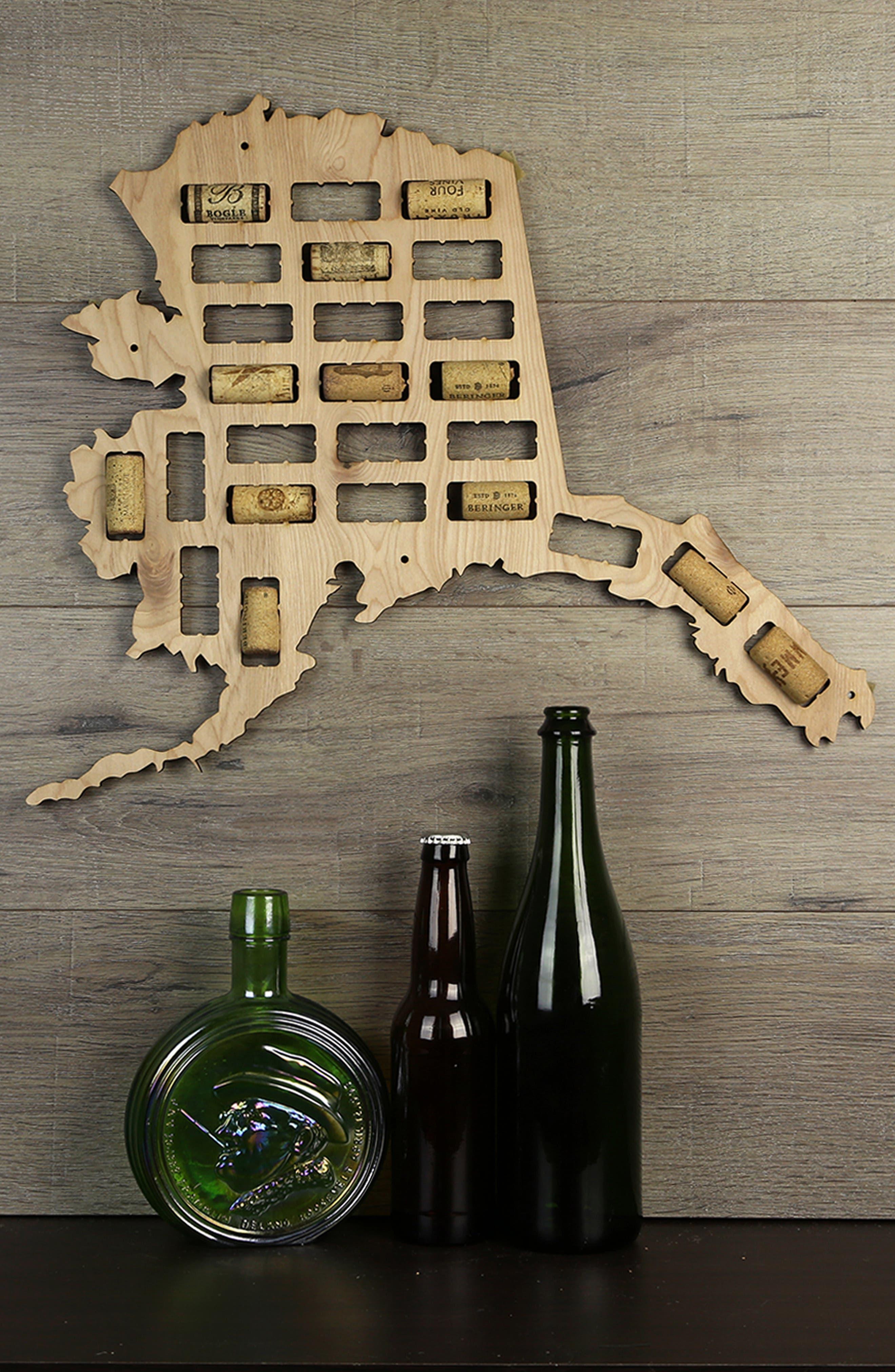 BEERCAPTRAP, State Map Wine Cork Trap, Alternate thumbnail 2, color, ALASKA