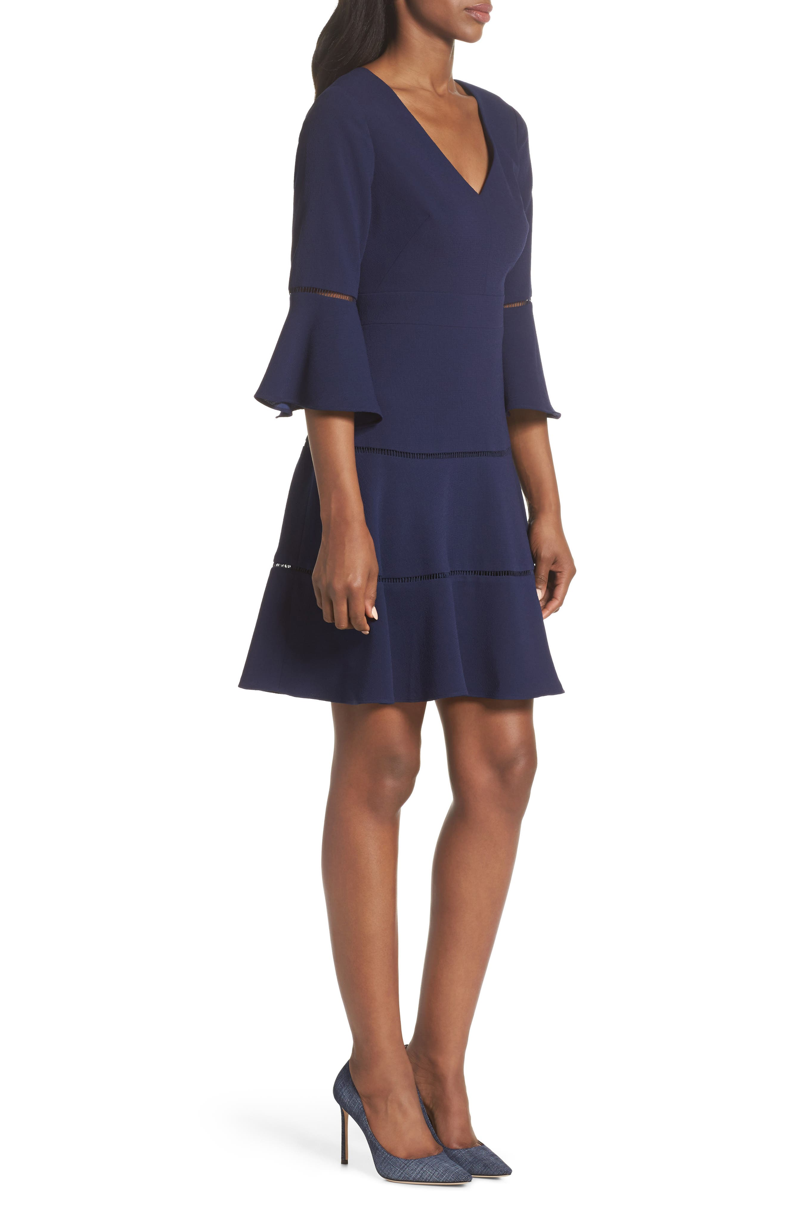 ELIZA J, Bell Sleeve Lace Inset Fit & Flare Dress, Alternate thumbnail 4, color, 410