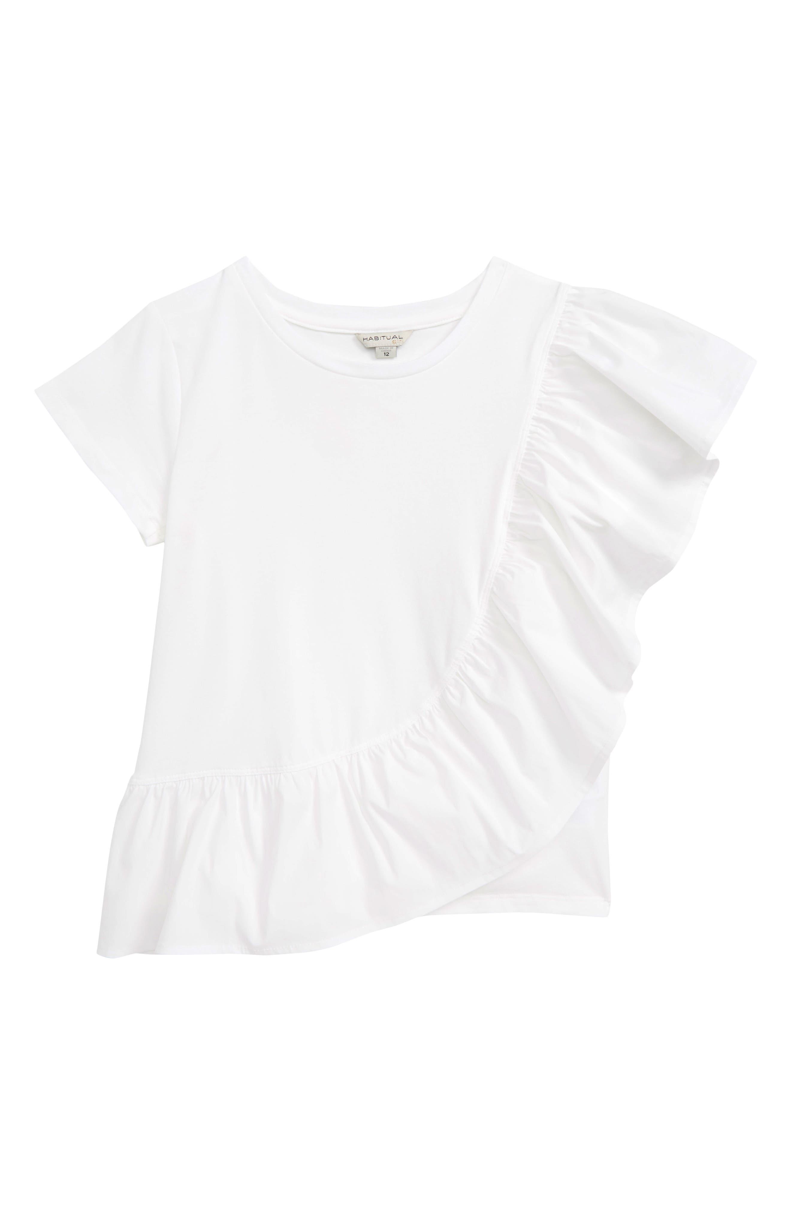 HABITUAL GIRL, Cilla Asymmetrical Ruffle Top, Main thumbnail 1, color, WHITE