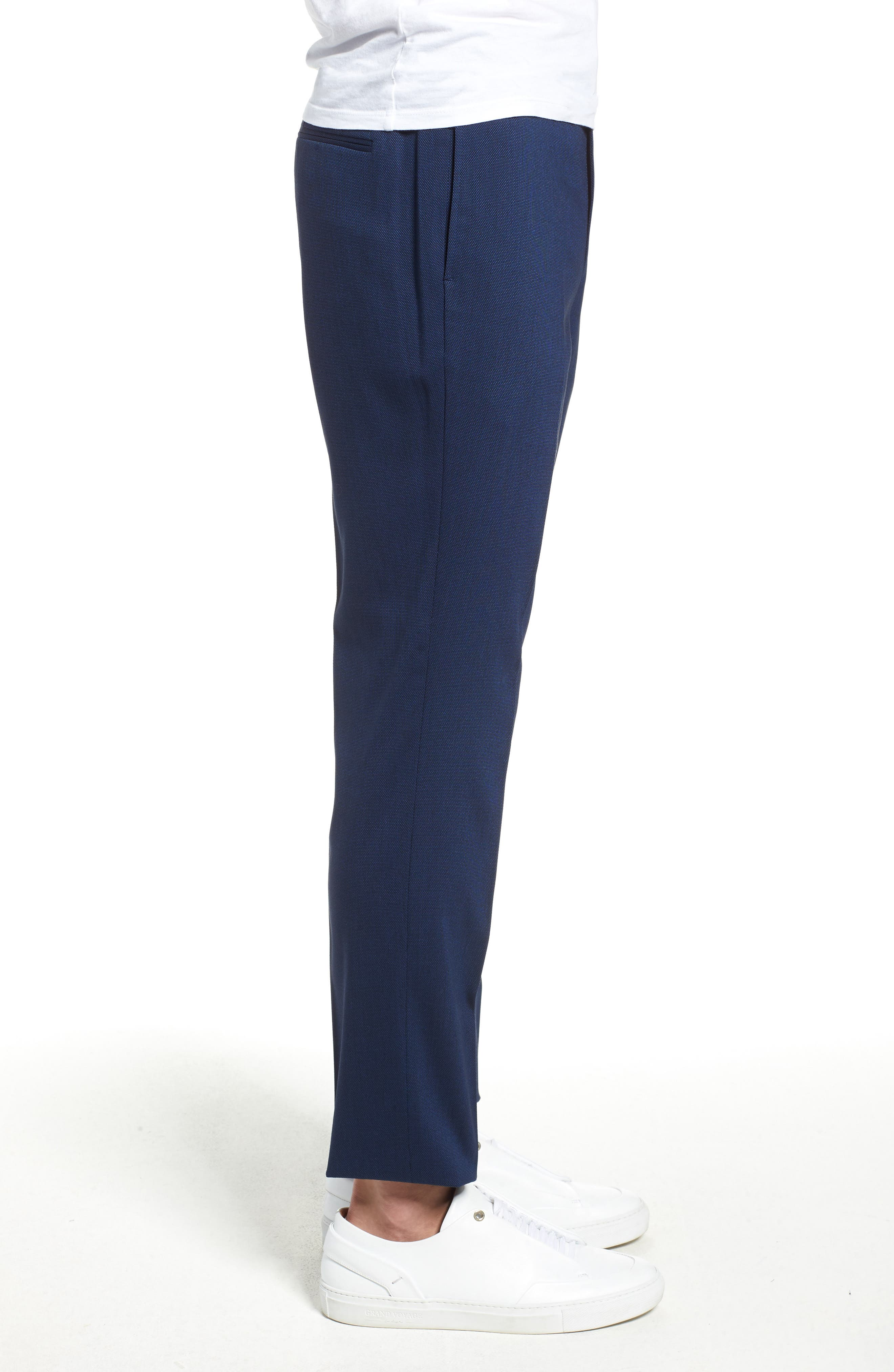 TOPMAN, Skinny Fit Suit Pants, Alternate thumbnail 3, color, MID BLUE