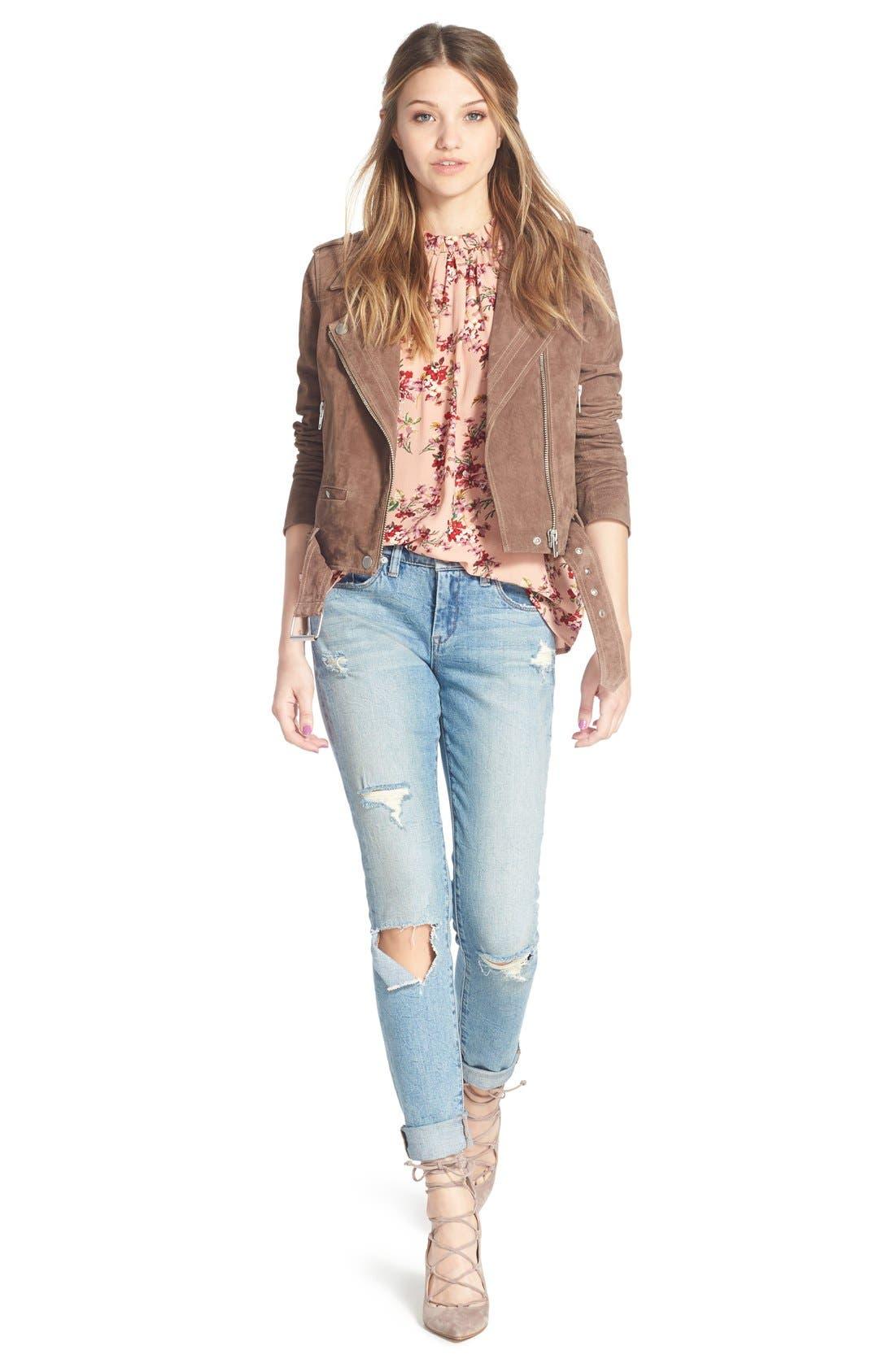 BLANKNYC, 'Skinny Dipper' Distressed Skinny Jeans, Alternate thumbnail 6, color, 400