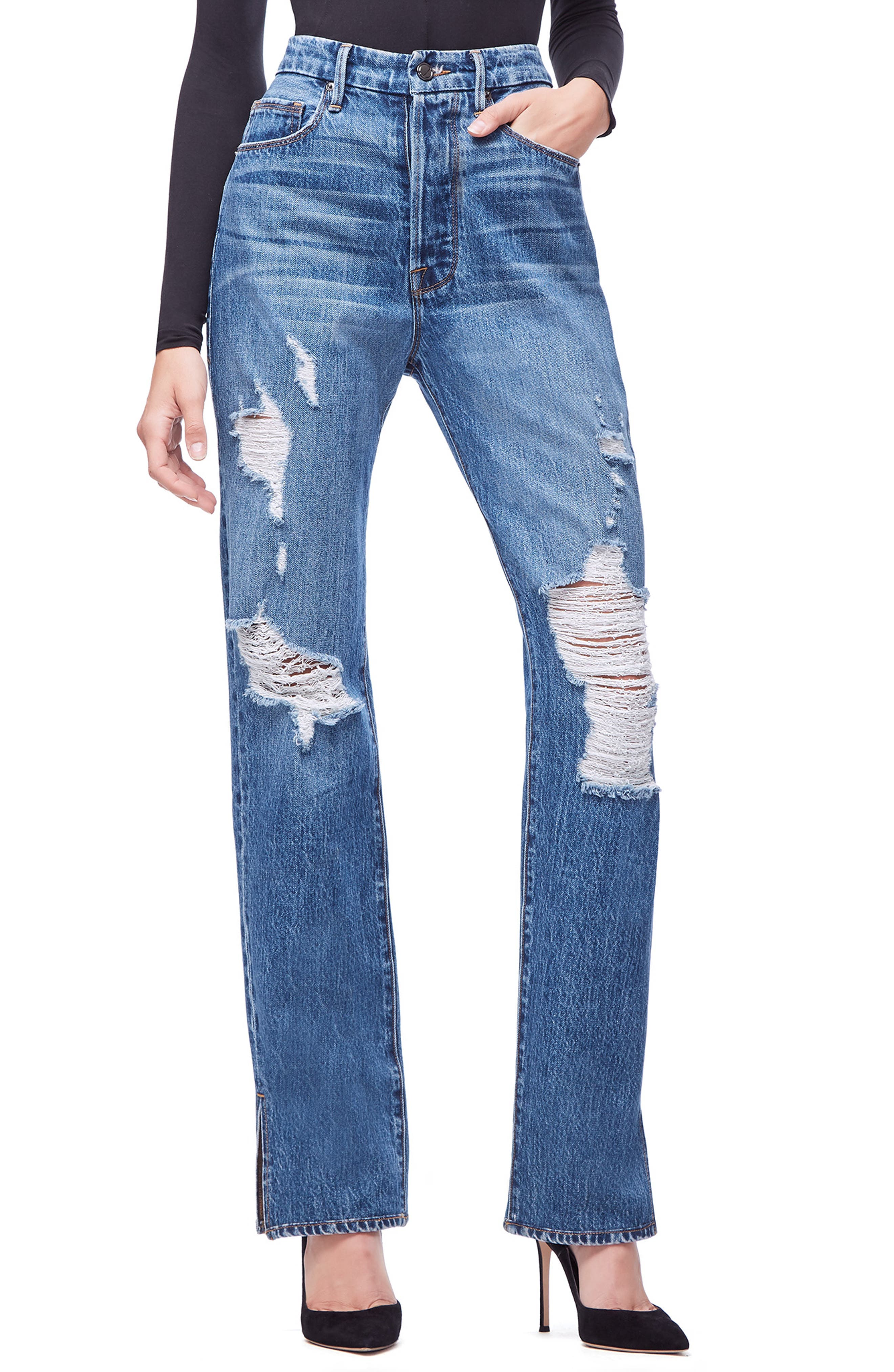 GOOD AMERICAN Good Boy High Rise Ripped Boyfriend Jeans, Main, color, BLUE194