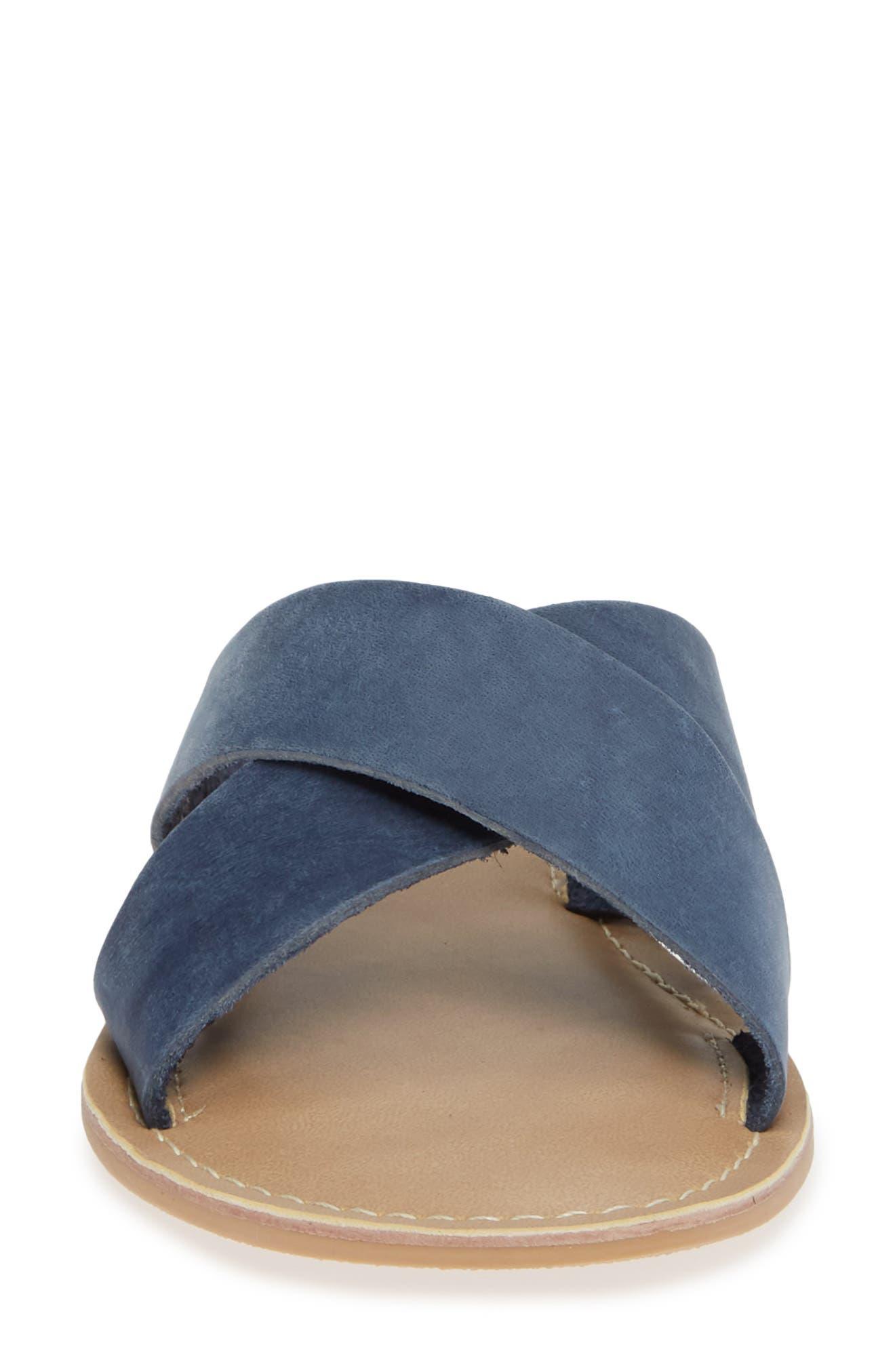 COCONUTS BY MATISSE, Pebble Slide Sandal, Alternate thumbnail 4, color, BLUE NUBUCK LEATHER