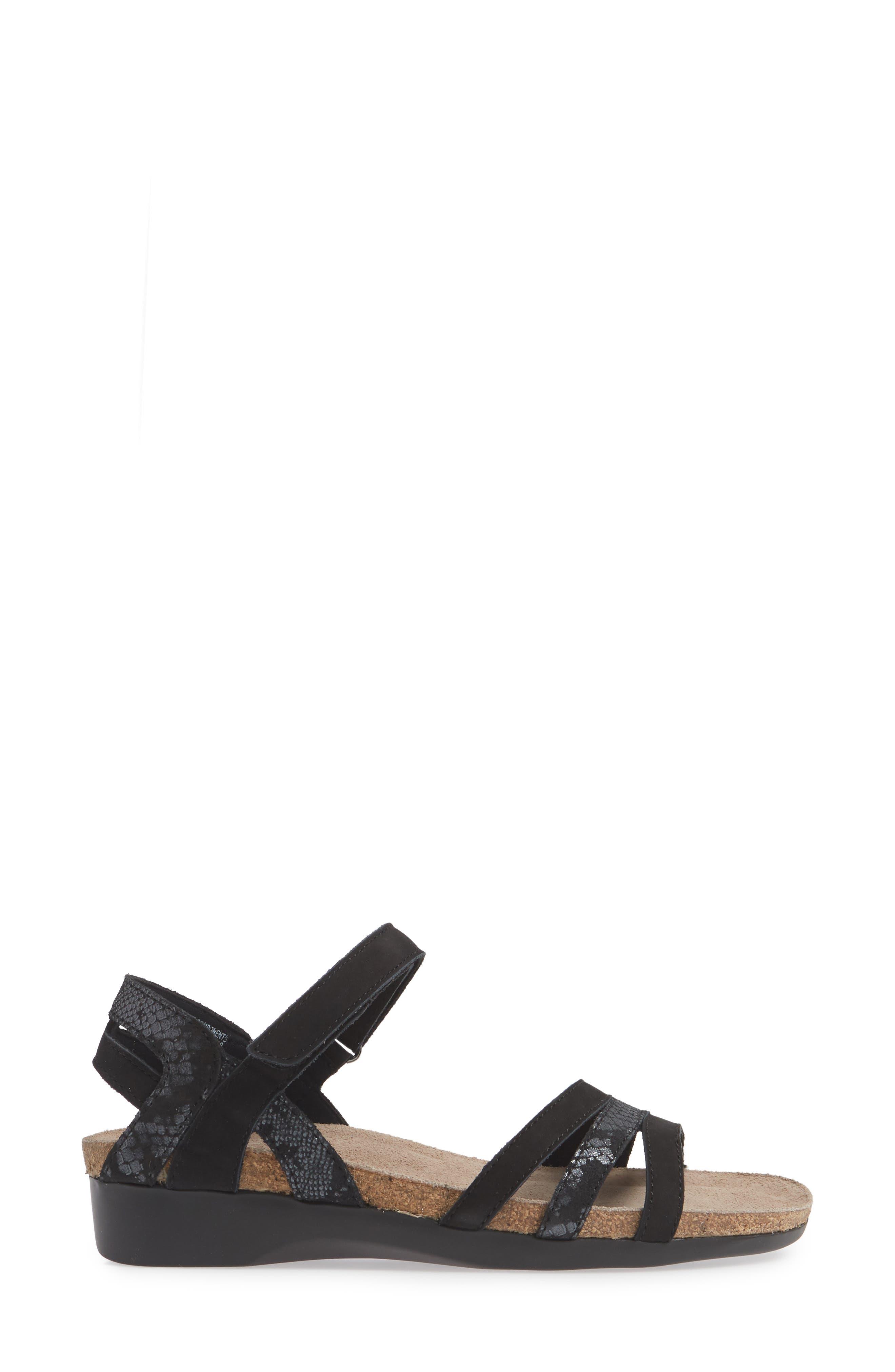 MUNRO, Summer Sandal, Alternate thumbnail 3, color, BLACK COMBO NUBUCK