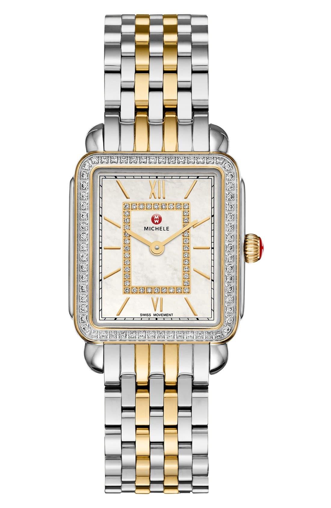 MICHELE, Deco II Mid 16mm Bracelet Watchband, Alternate thumbnail 3, color, SILVER/ GOLD