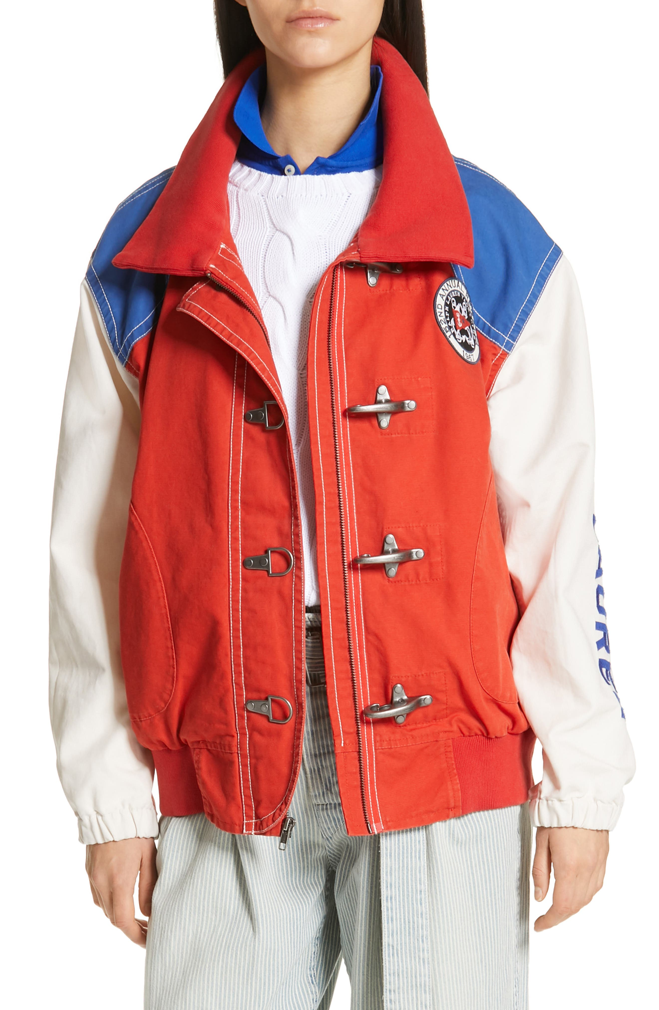 POLO RALPH LAUREN, Colorblock Utility Jacket, Main thumbnail 1, color, ORANGE/CREAM/ SAPPHIRE
