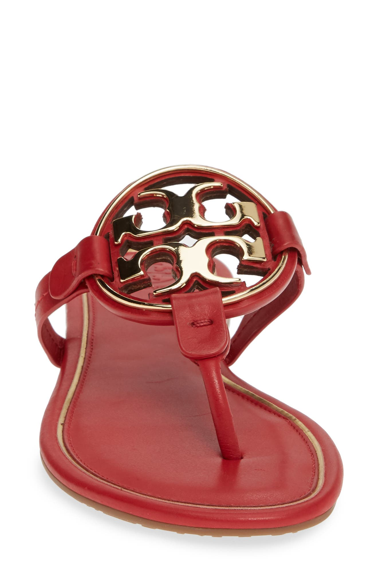 TORY BURCH, Metal Miller Flip Flop, Alternate thumbnail 4, color, BRILLIANT RED/ GOLD