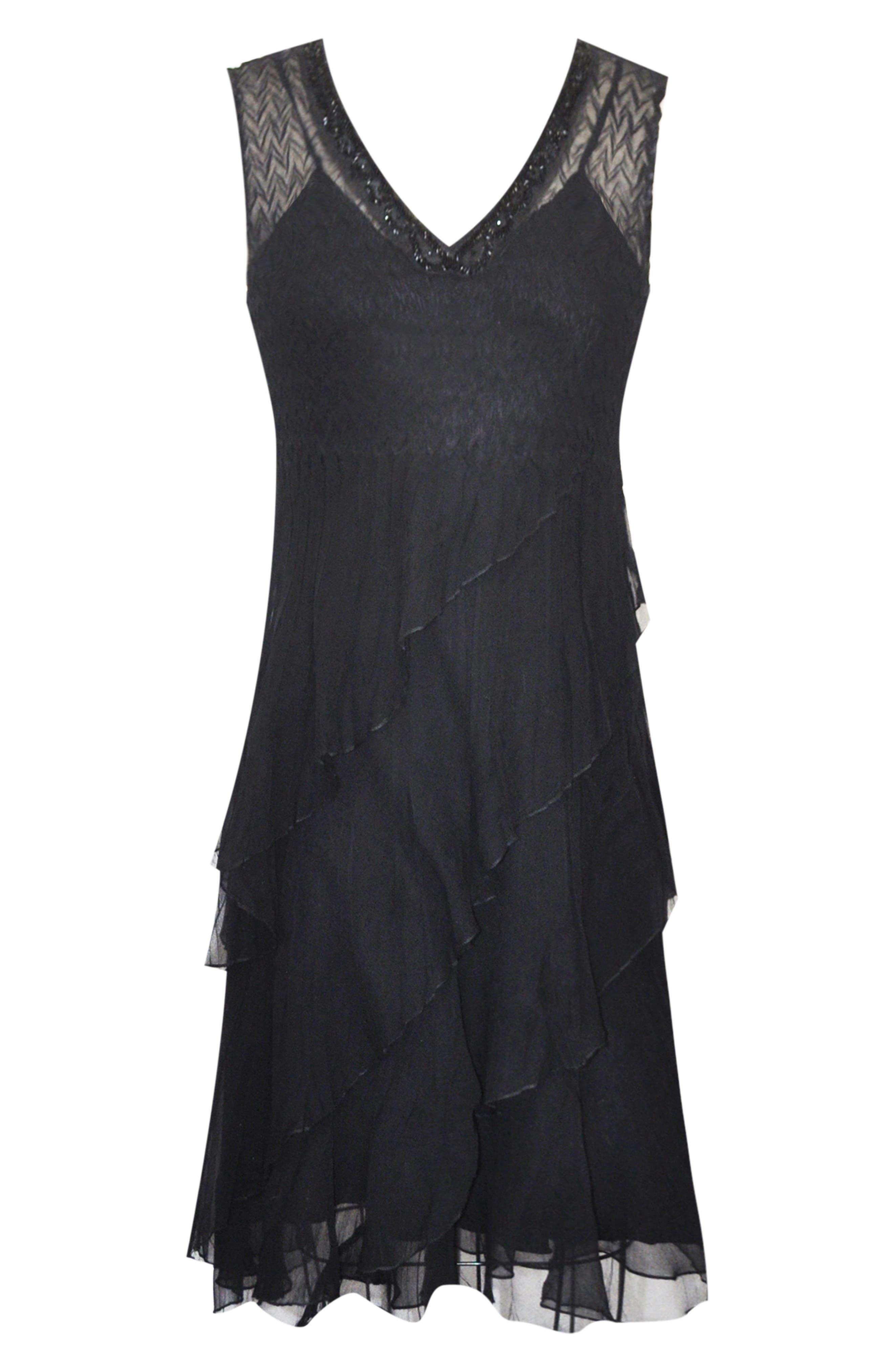 KOMAROV, Bead Trim Chiffon Dress with Wrap, Alternate thumbnail 7, color, BLACK