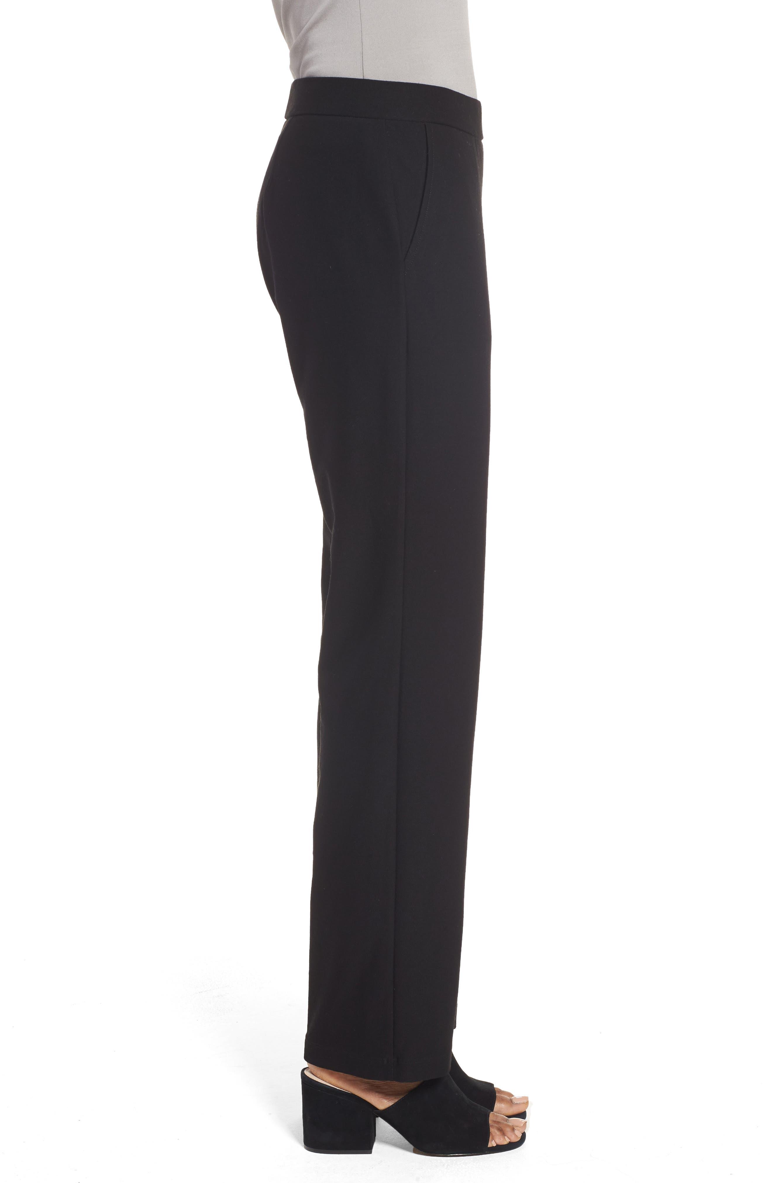 EILEEN FISHER, Straight Leg Pants, Alternate thumbnail 4, color, BLACK
