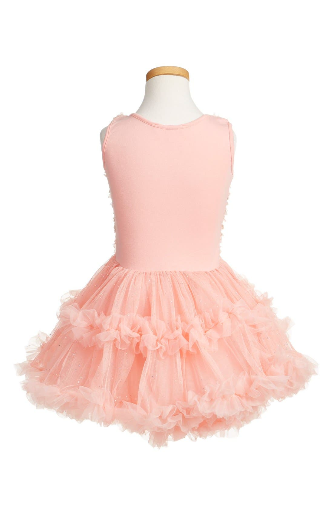 POPATU, Floral Appliqué Tutu Dress, Alternate thumbnail 2, color, PEACH