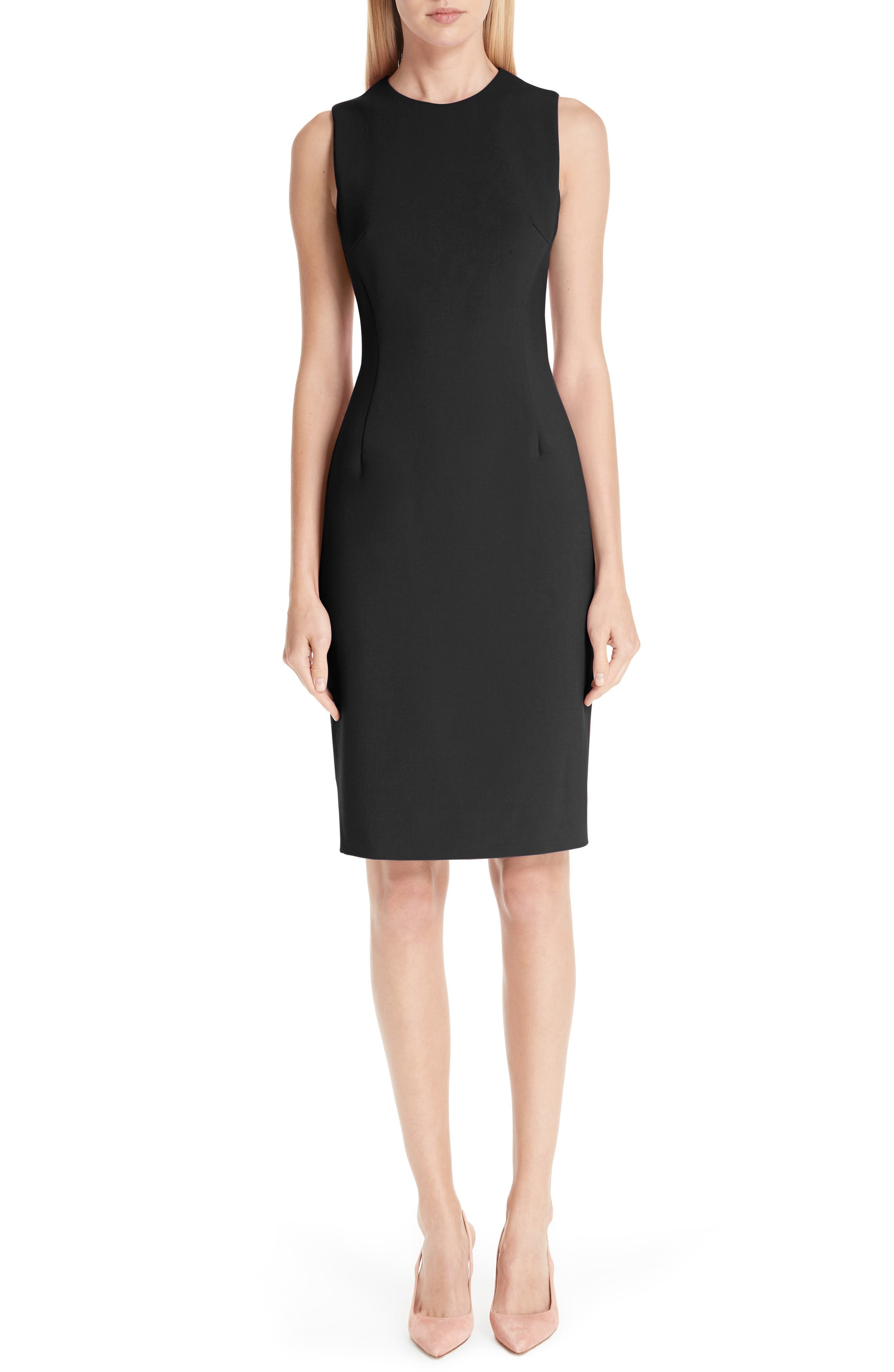 VERSACE COLLECTION, Stretch Cady Pencil Dress, Main thumbnail 1, color, 001