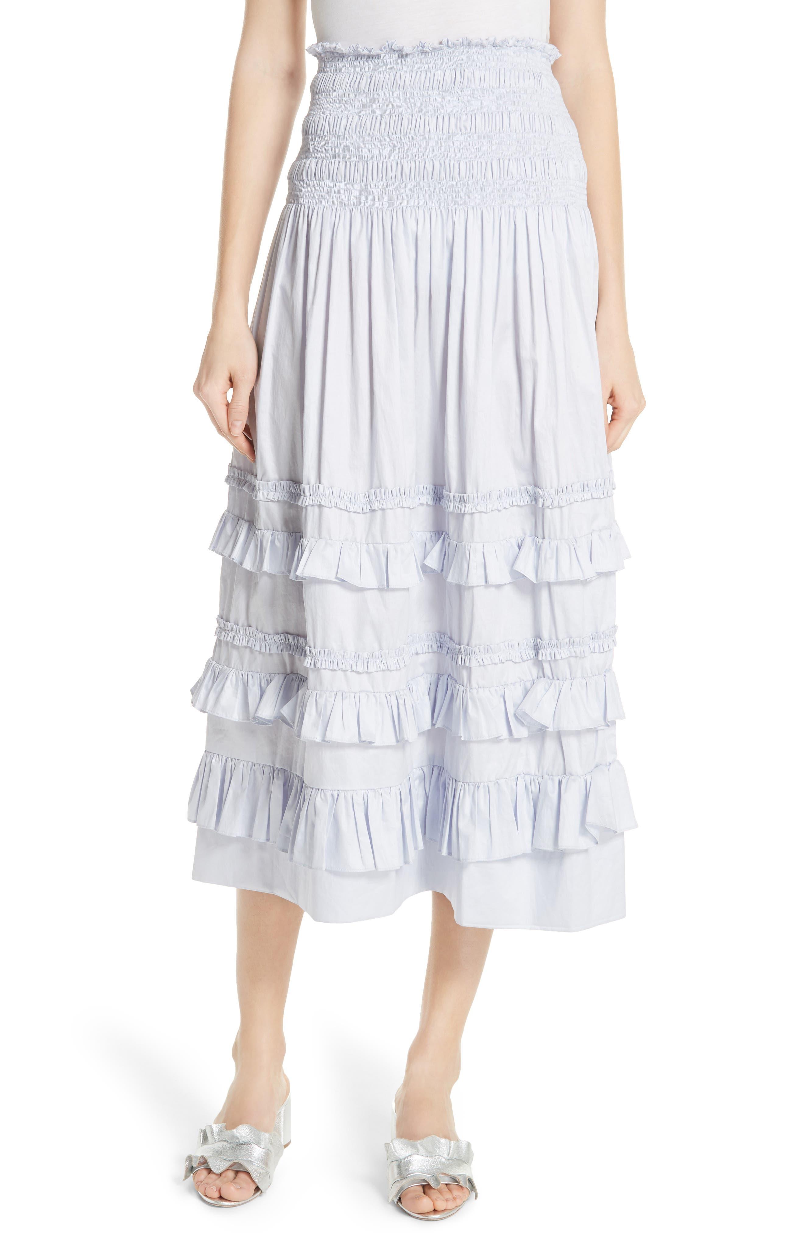 REBECCA TAYLOR Ruffle Trim Midi Skirt, Main, color, 458