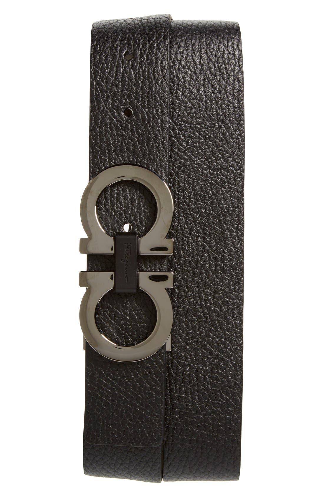 SALVATORE FERRAGAMO, Reversible Double Gancio Belt, Main thumbnail 1, color, BLACK/ HICKORY
