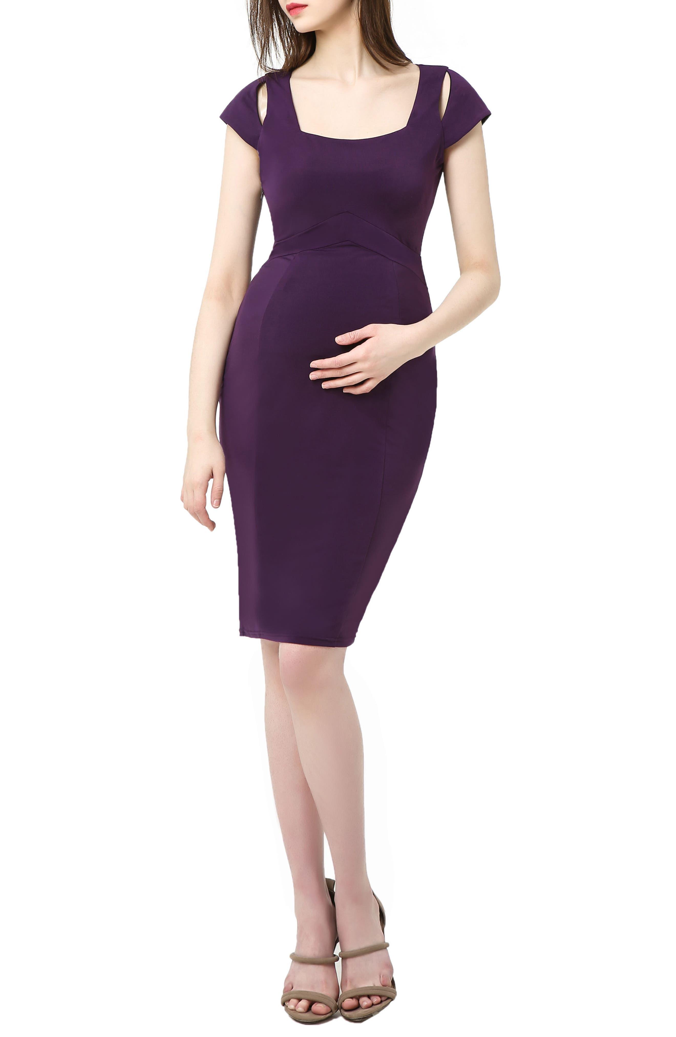Kimi And Kai Julie Cold Shoulder Body-Con Maternity Dress, Purple