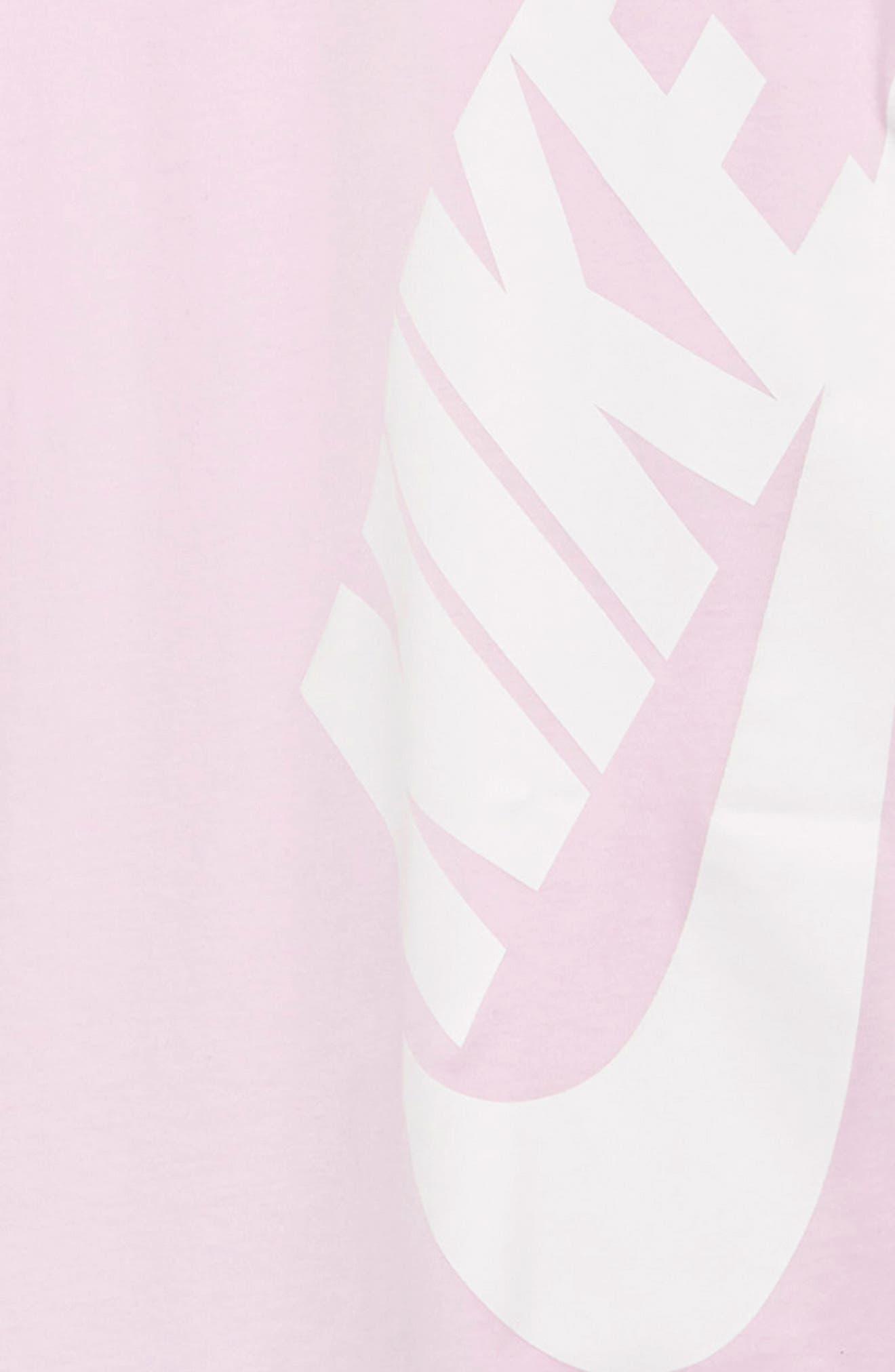 NIKE, Sportswear Logo Shirtdress, Alternate thumbnail 3, color, PINK FOAM / BORDEAUX