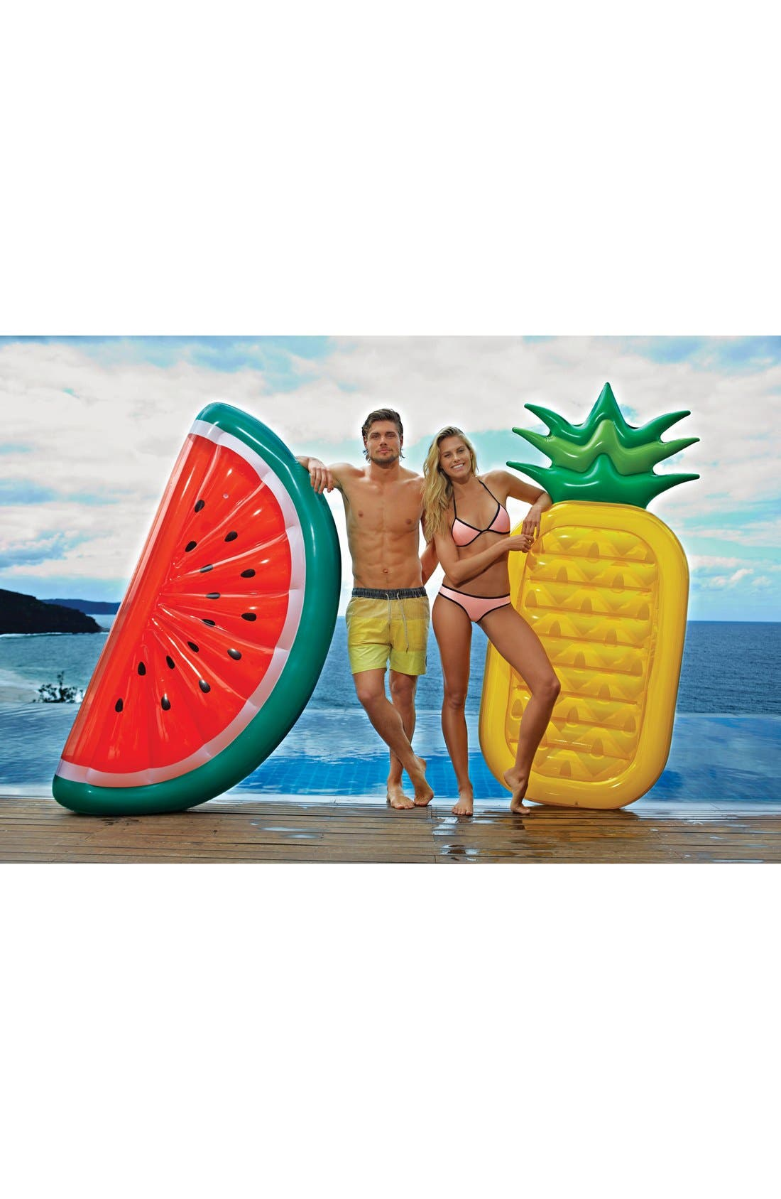 SUNNYLIFE, 'Really Big' Inflatable Pineapple Pool Floatie, Alternate thumbnail 6, color, 700