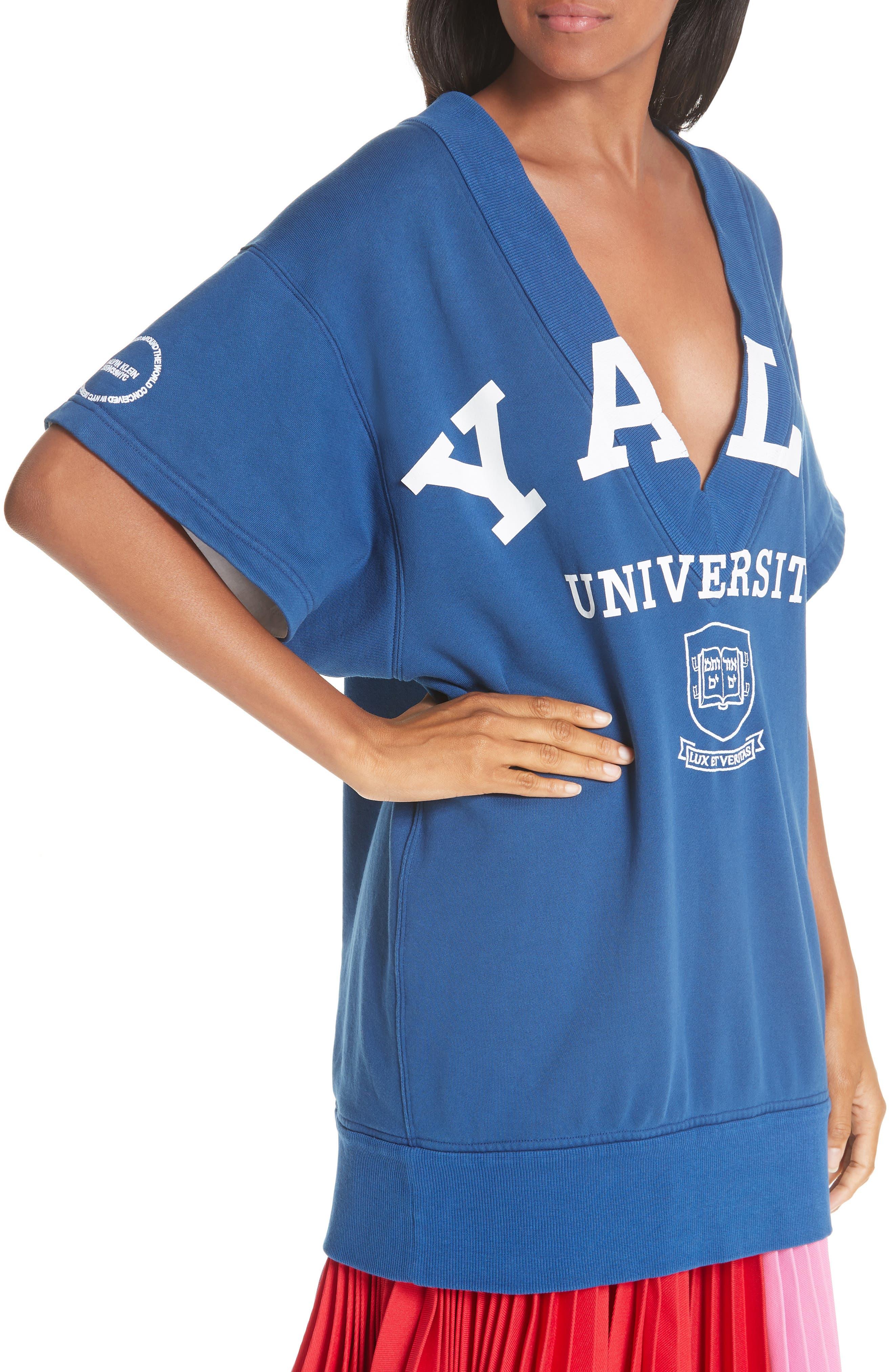 CALVIN KLEIN 205W39NYC, Yale Short Sleeve Sweatshirt, Alternate thumbnail 5, color, YALE BLUE