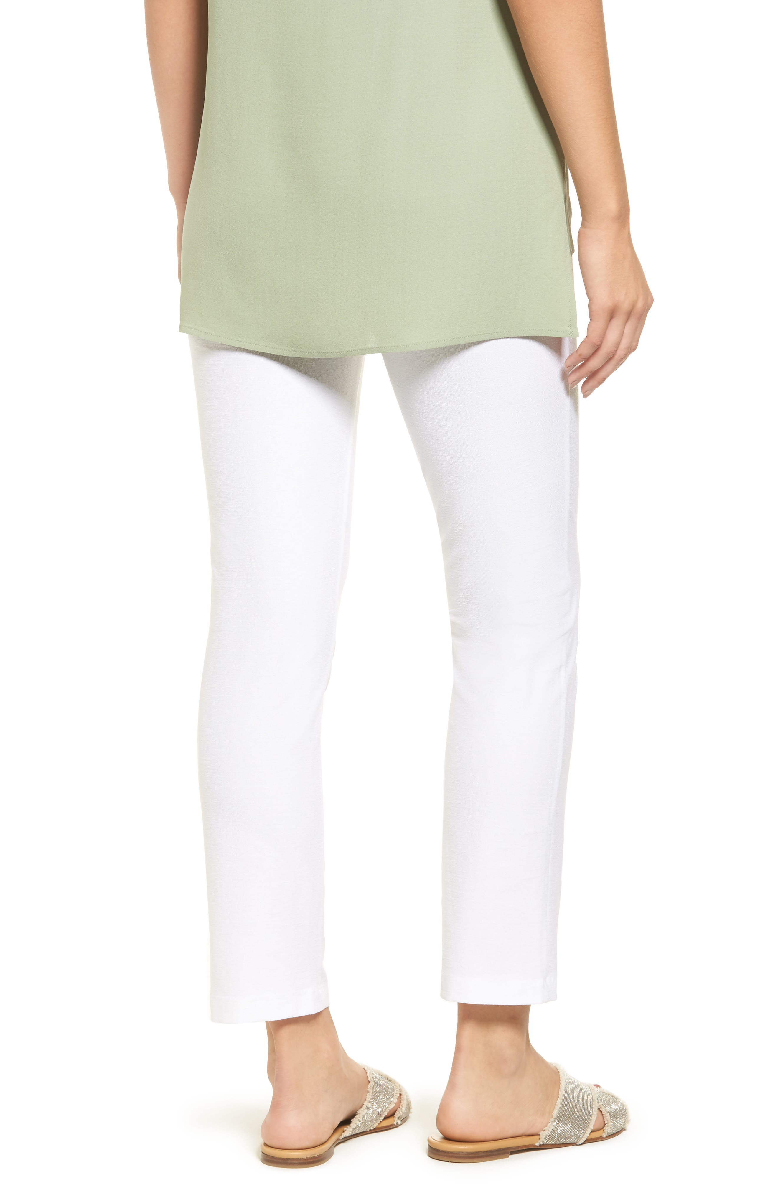 EILEEN FISHER, Stretch Crepe Slim Ankle Pants, Alternate thumbnail 2, color, WHITE