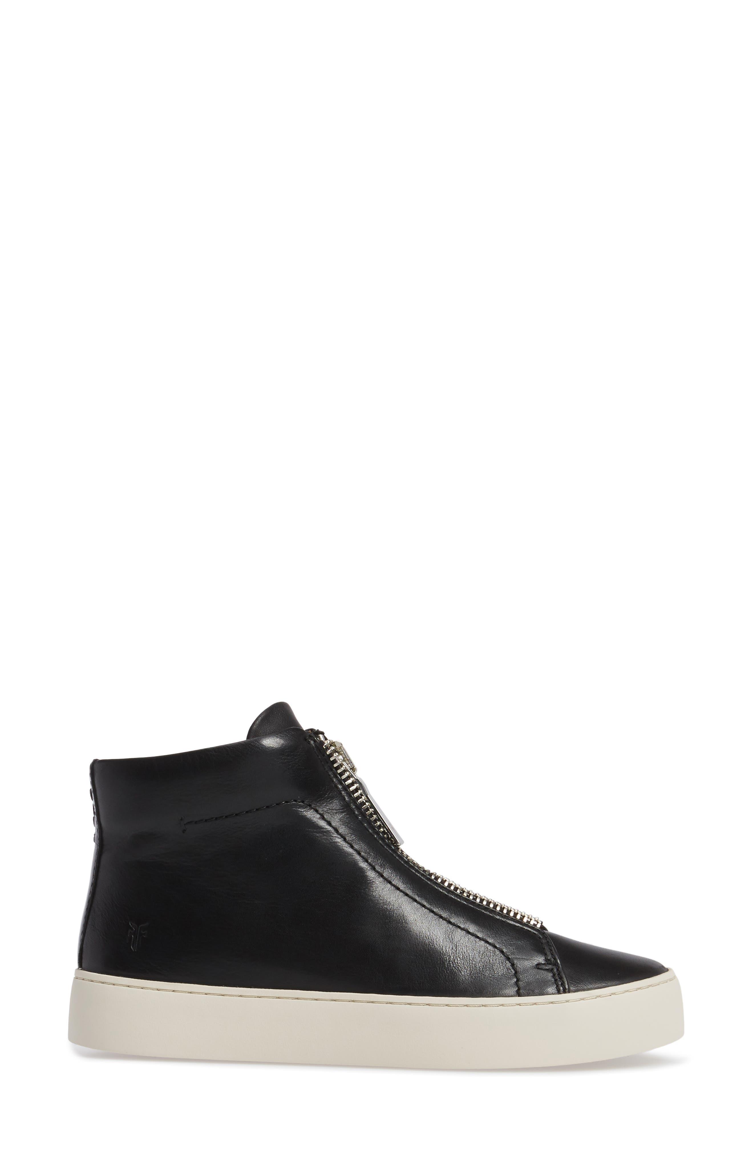 FRYE, Lena Zip High Top Sneaker, Alternate thumbnail 3, color, BLACK LEATHER