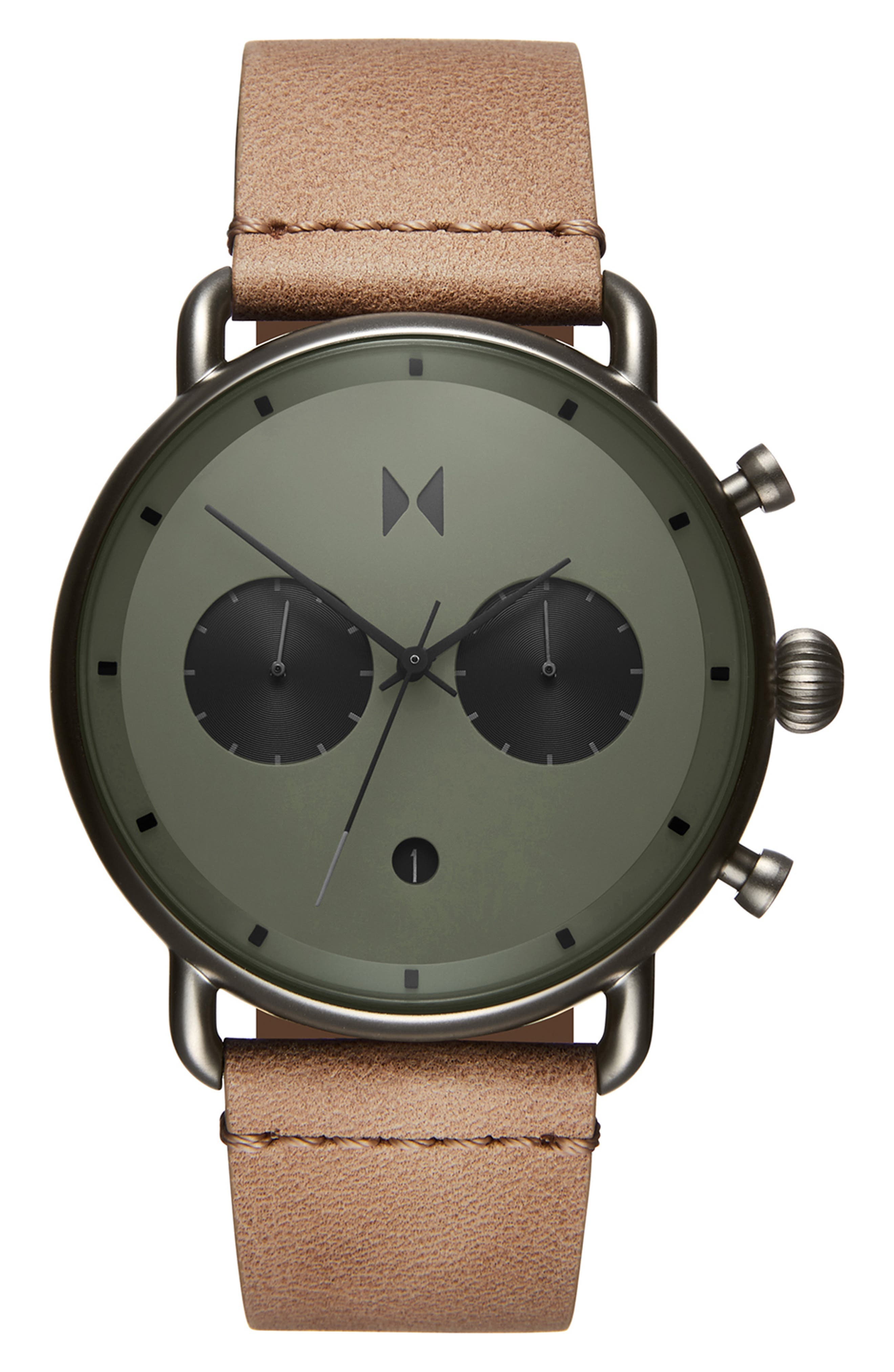 MVMT Blacktop Chronograph Leather Strap Watch, Main, color, GREEN/ SANDSTONE