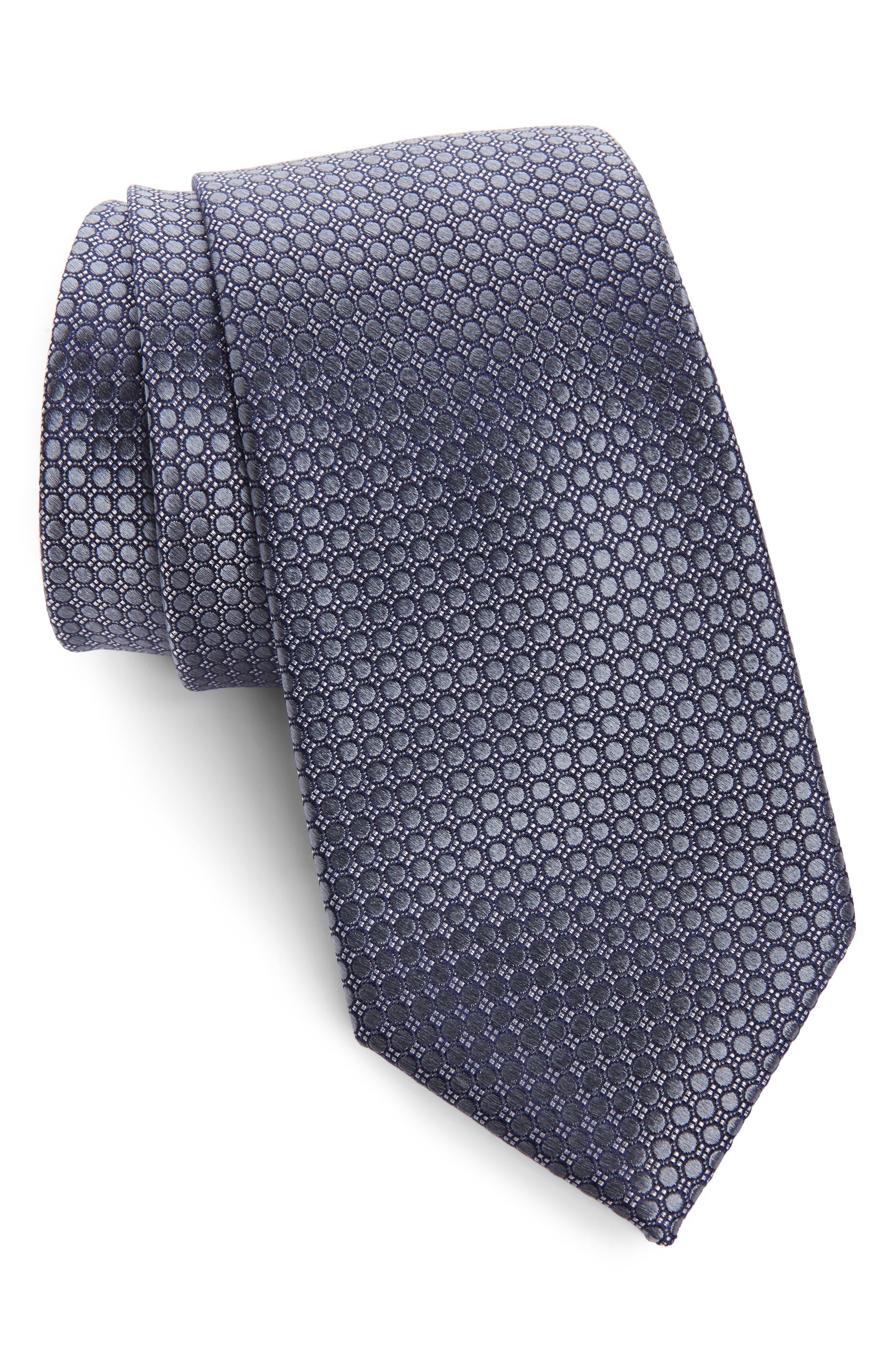 NORDSTROM MEN'S SHOP Alana Geometric Silk Tie, Main, color, BLACK/ GREY