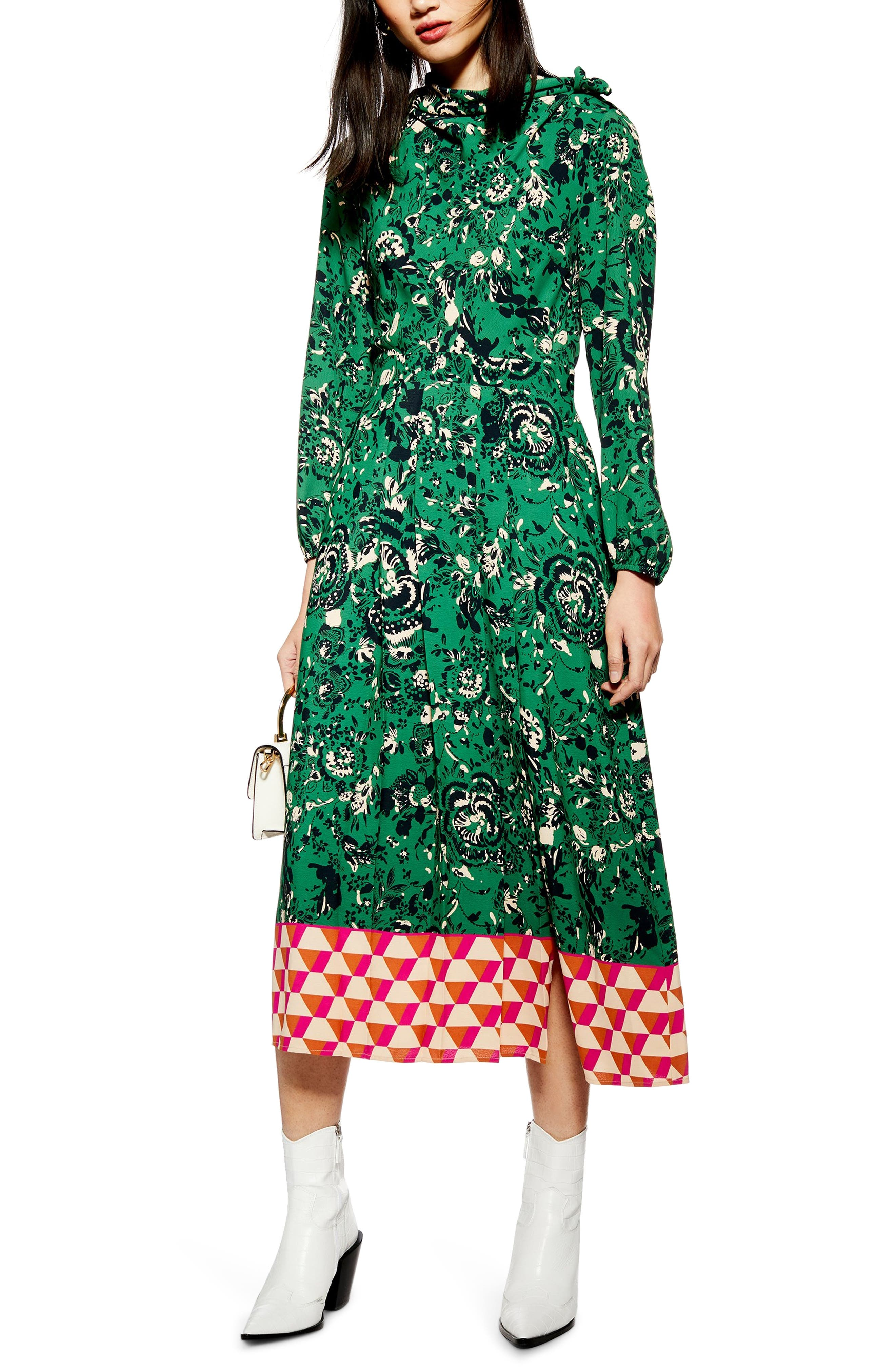 TOPSHOP, Geo Border Tie Neck Midi Dress, Main thumbnail 1, color, GREEN MULTI