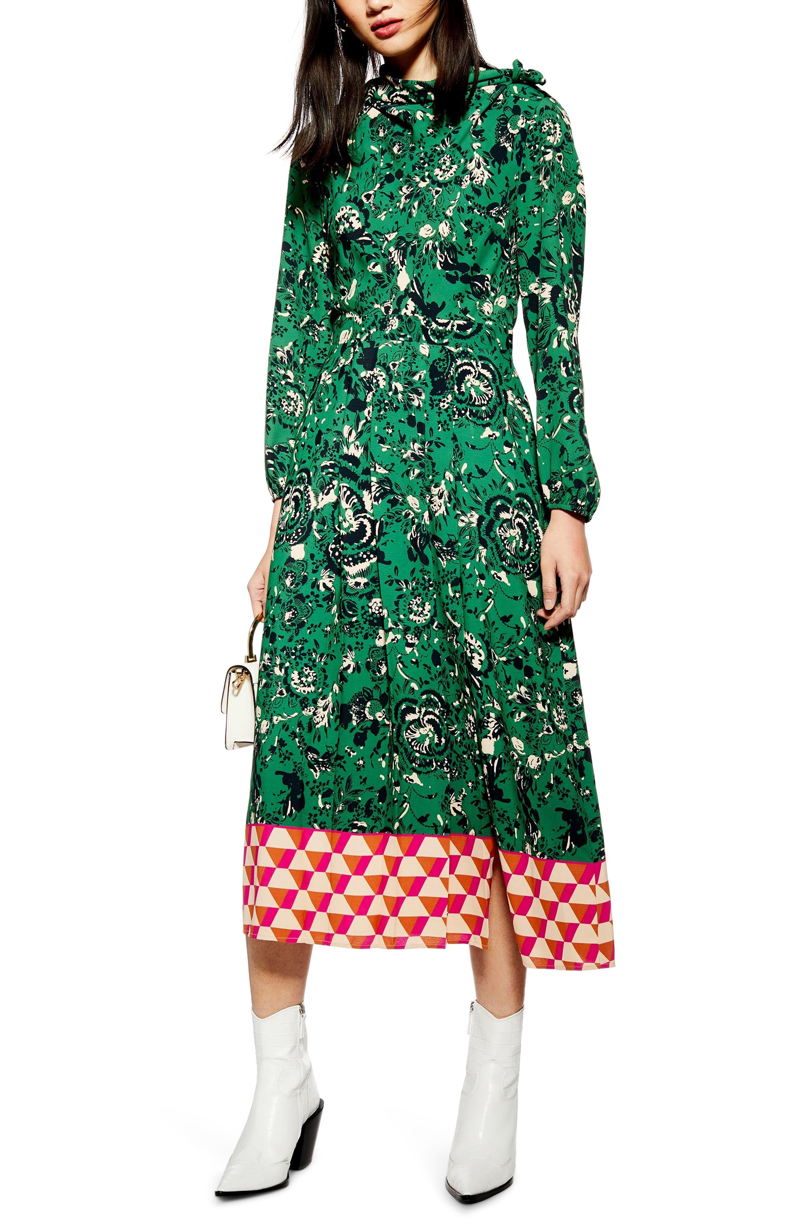 TOPSHOP Geo Border Tie Neck Midi Dress, Main, color, GREEN MULTI