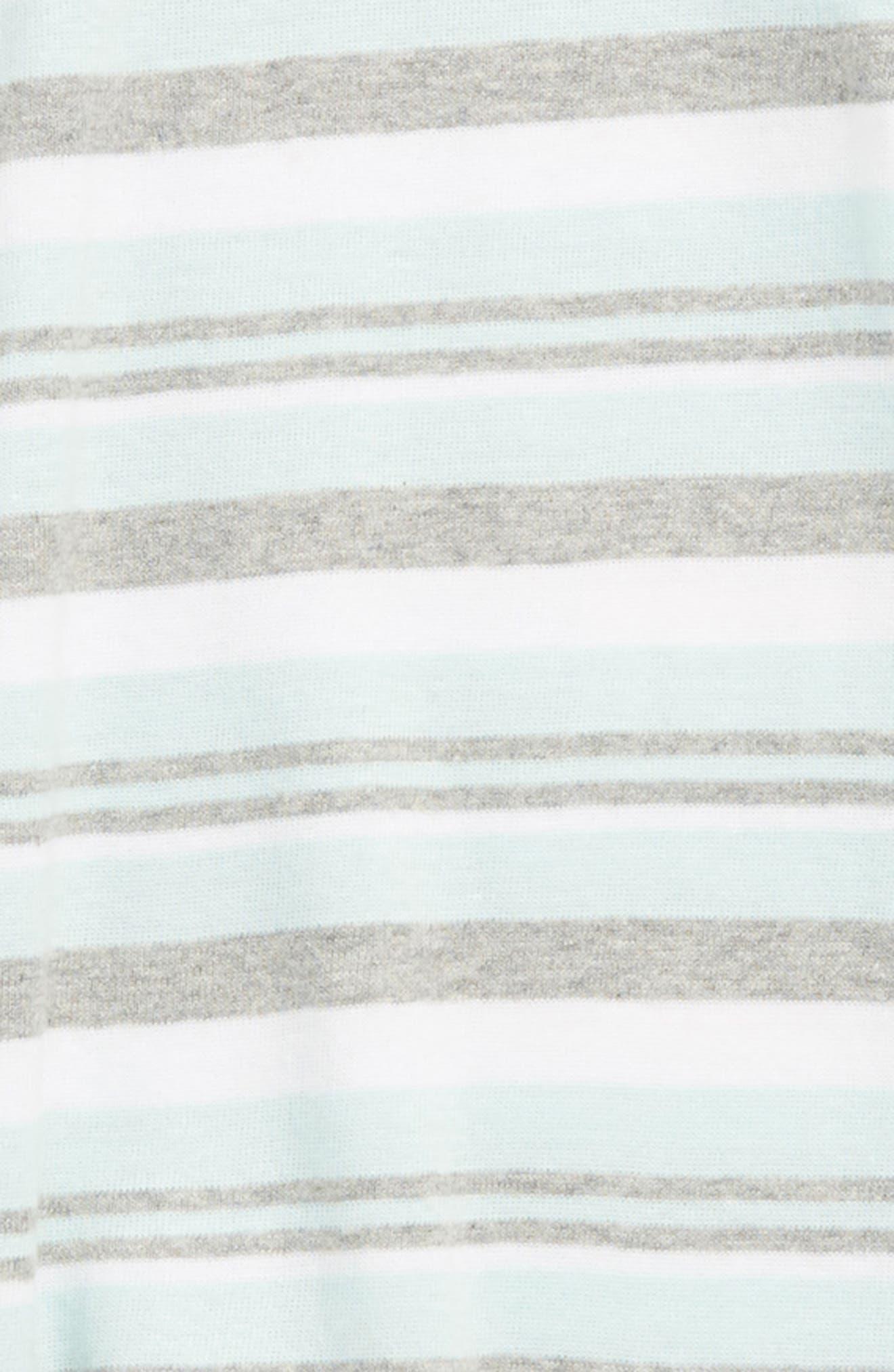 BURT'S BEES BABY, Sixties Stripe Organic Cotton Footie & Hat Set, Alternate thumbnail 2, color, SEAGLASS