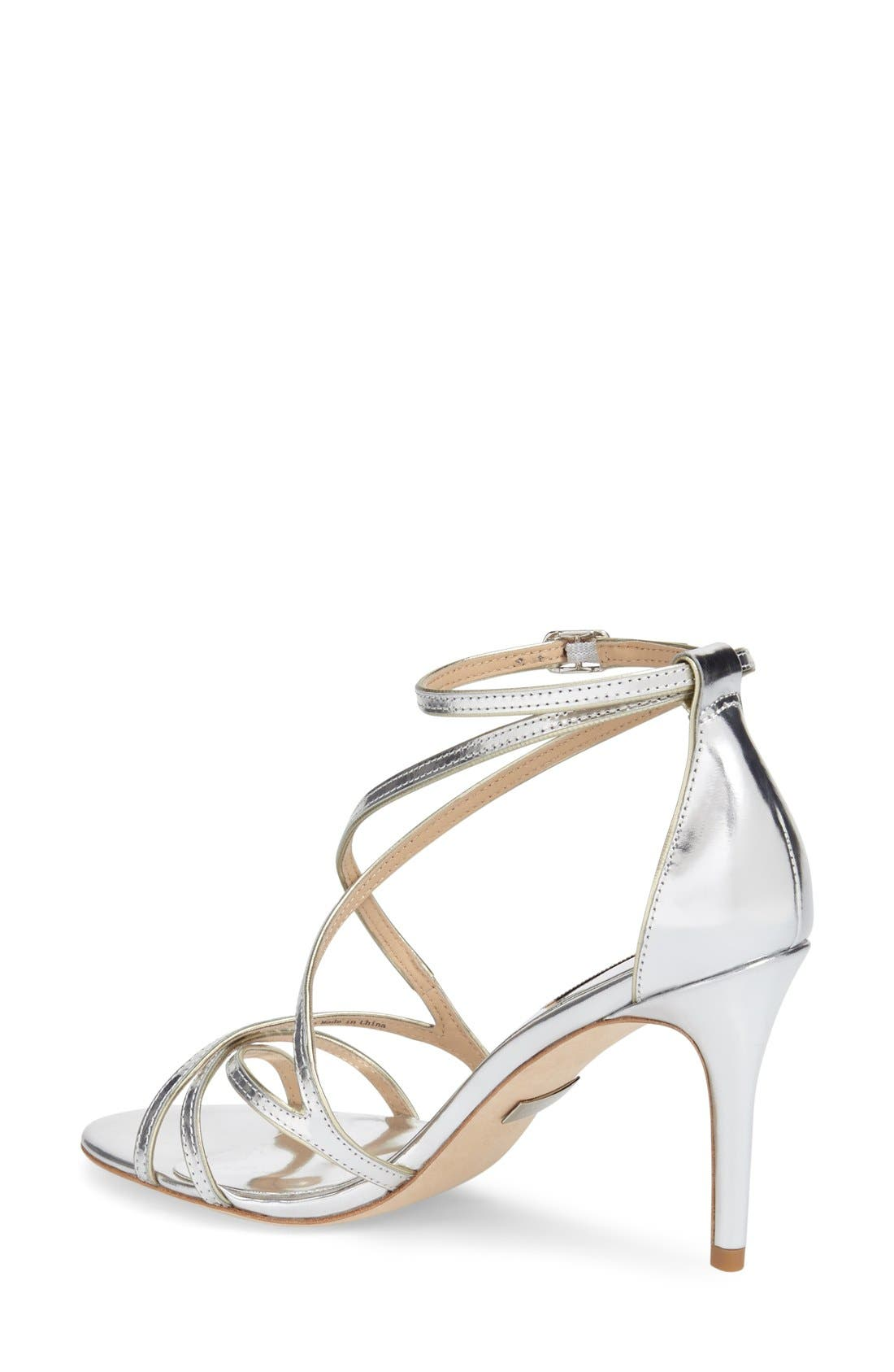 BADGLEY MISCHKA COLLECTION, Badgley Mischka 'Lillian' Metallic Evening Sandal, Alternate thumbnail 3, color, 046