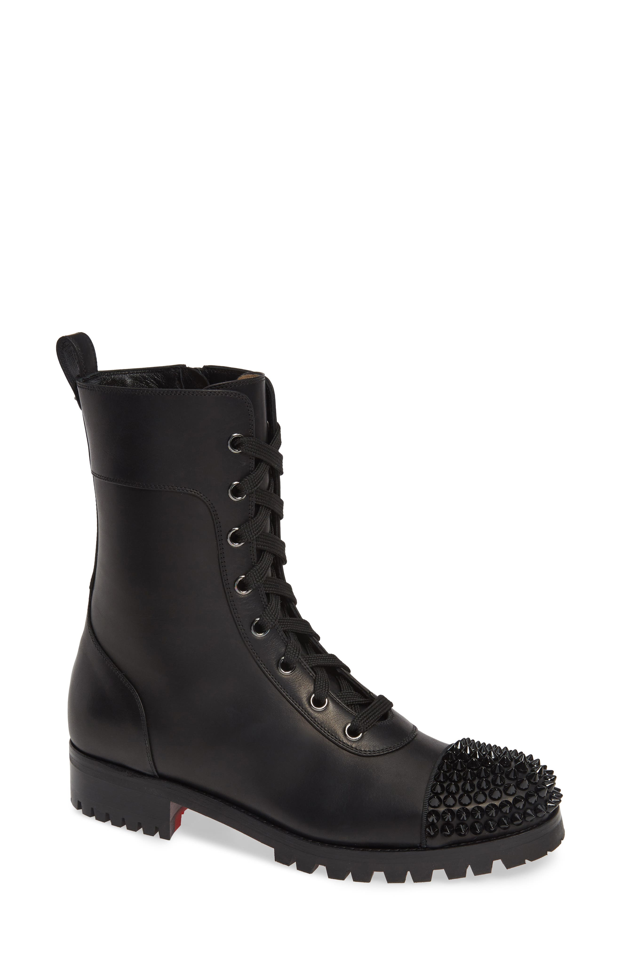 CHRISTIAN LOUBOUTIN Lace-Up Hiker Boot, Main, color, BLACK