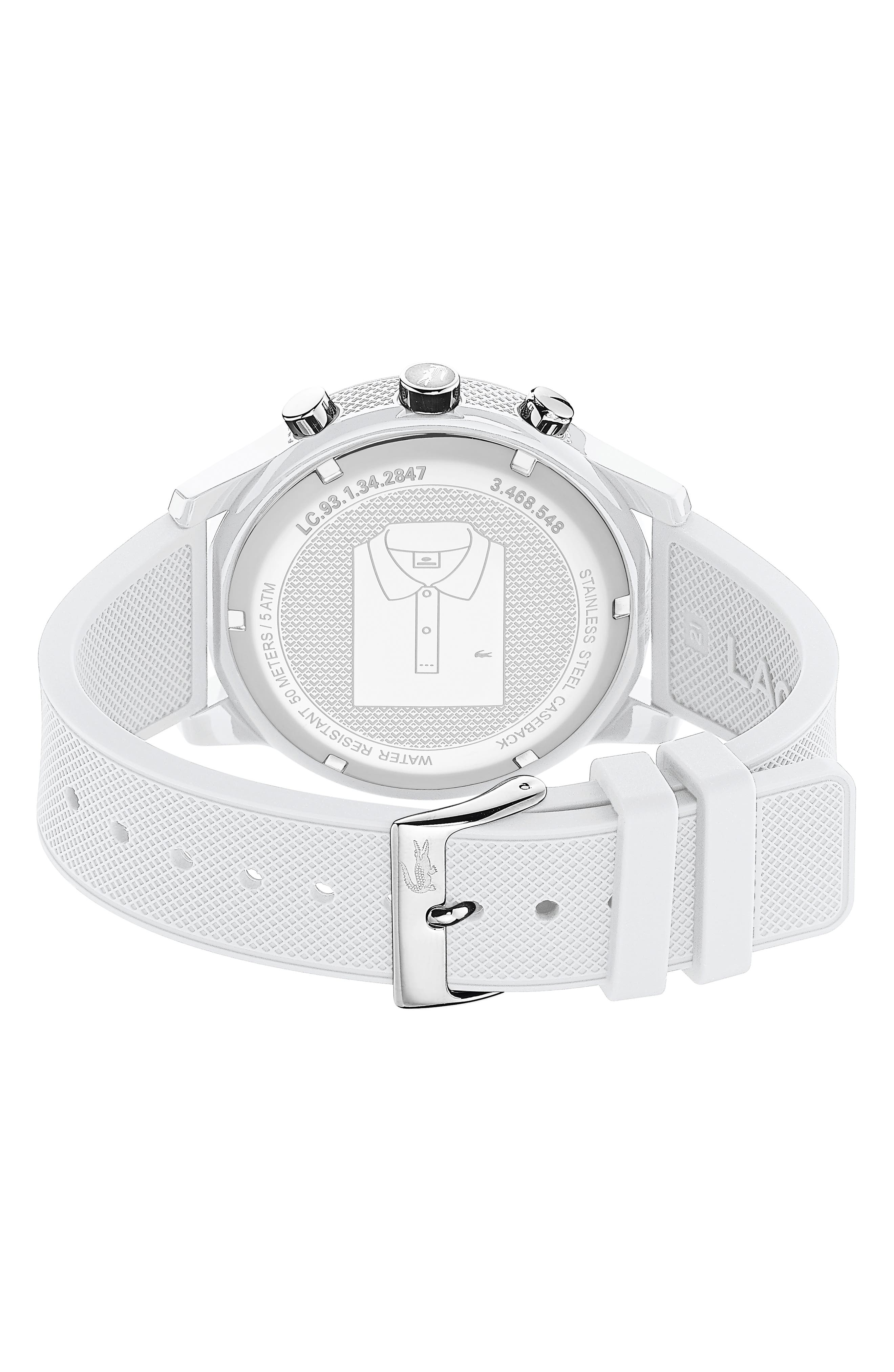 LACOSTE, 12.12 Chronograph Silicone Band Watch, 44mm, Alternate thumbnail 2, color, WHITE